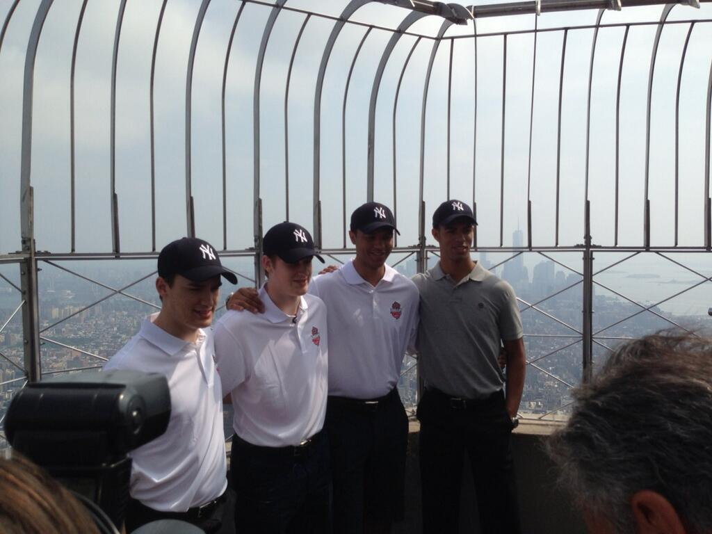 Top prospects (l-r) Jonathan Drouin, Nathan MacKinnon, Seth Jones and Darnell Nurse at the Empire State Building top deck on Thursday, June 27, 2013.