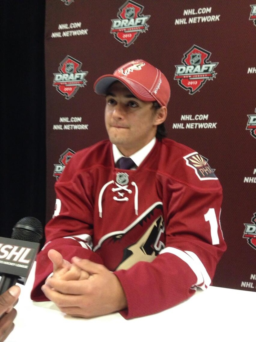Connor Clifton adresses the media after being selected by Phoenix at the 2013 NHL Draft in Newark.