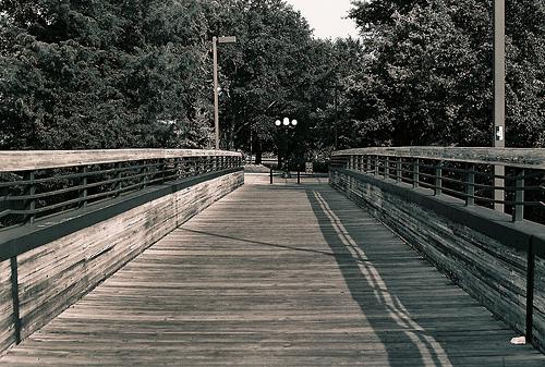 The lonely bridge walk to Campus.