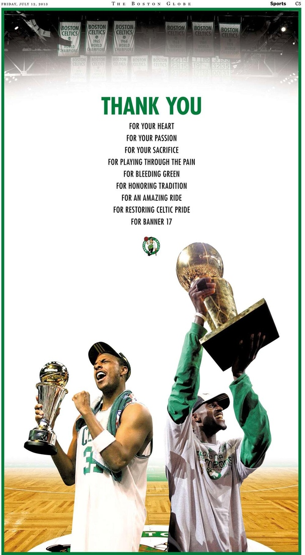 Celtics hit the papers to thank Pierce and Garnett
