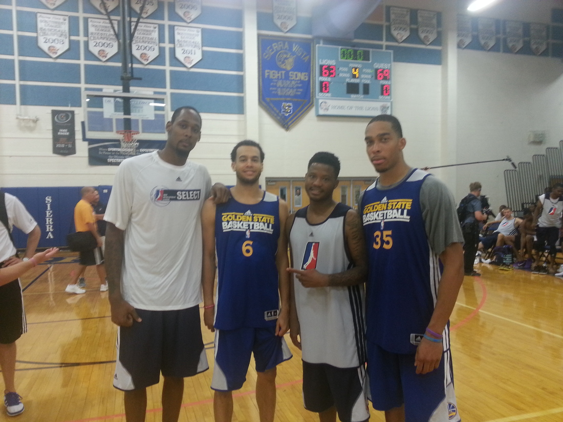 2012-13 Santa Cruz Warriors players Mickell Gladness, Cameron Jones, Stefhon Hannah and Lance Goulbourne after a scrimmage between Golden State and D-League select.