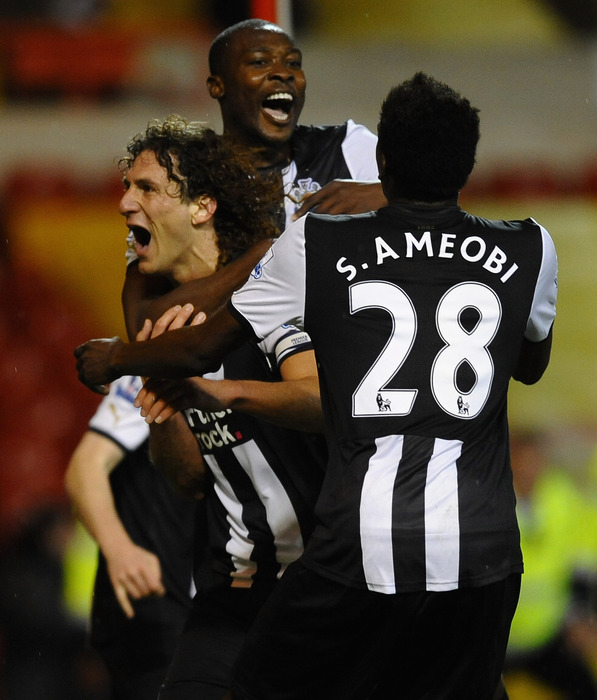 Sammy Ameobi in action for the Magpies.