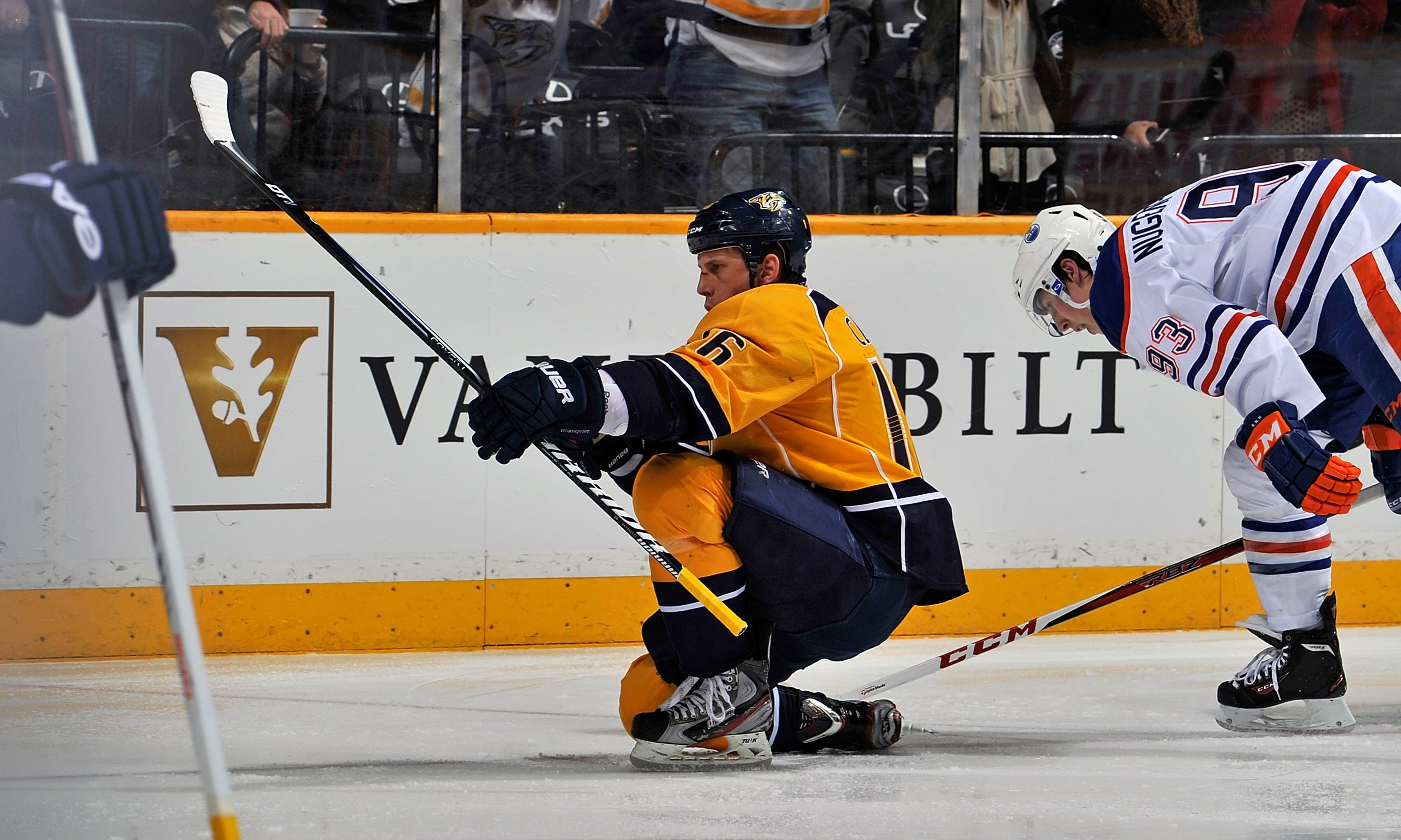 Preds F Rich Clune celebrates a goal against the Edmonton Oilers at Bridgestone Arena on March 8, 2013. Clune celebrates his freedom from alcoholism and addiction by trying to help others.