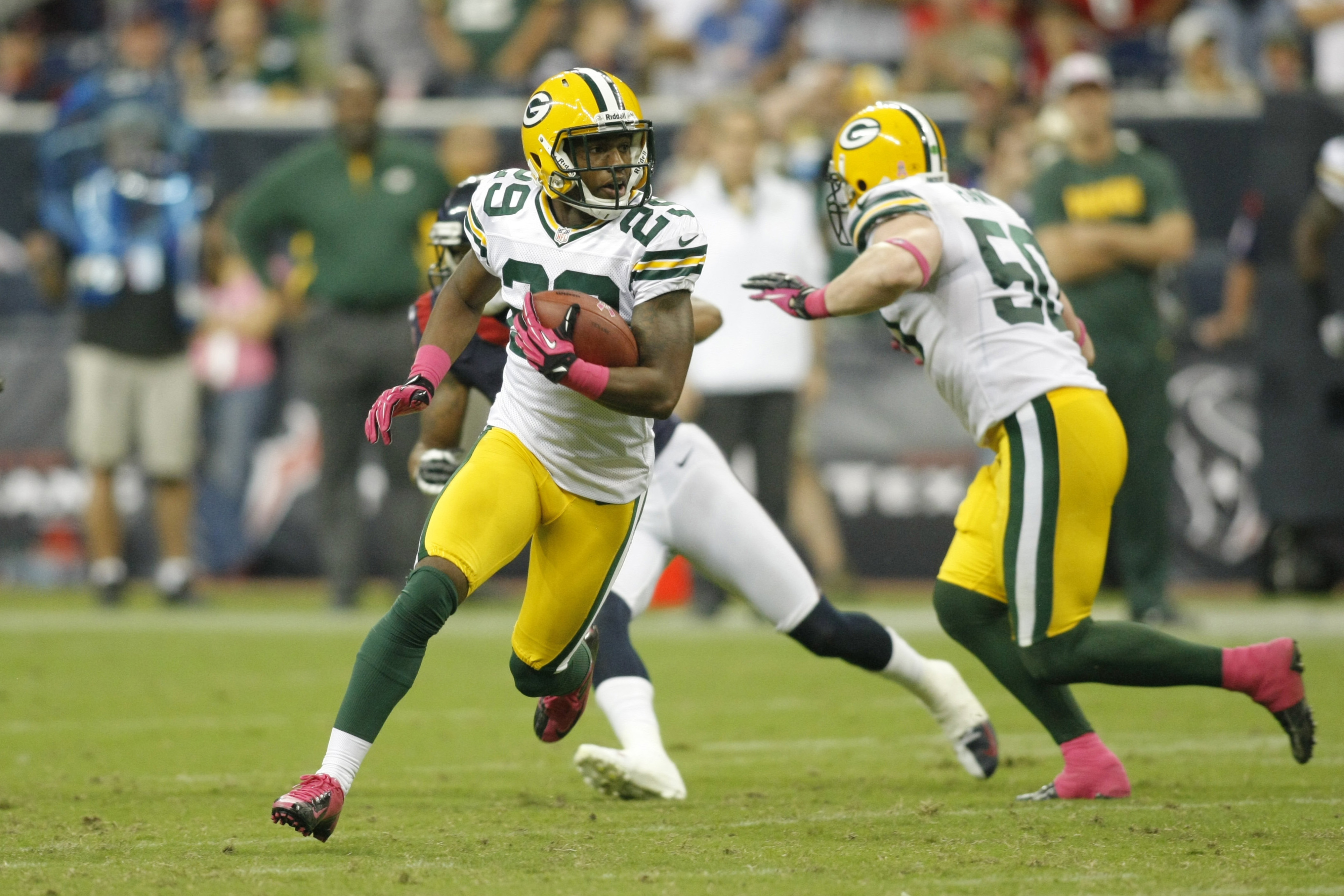Casey Hayward (29) returns an interception against the Houston Texans during a 2012 game