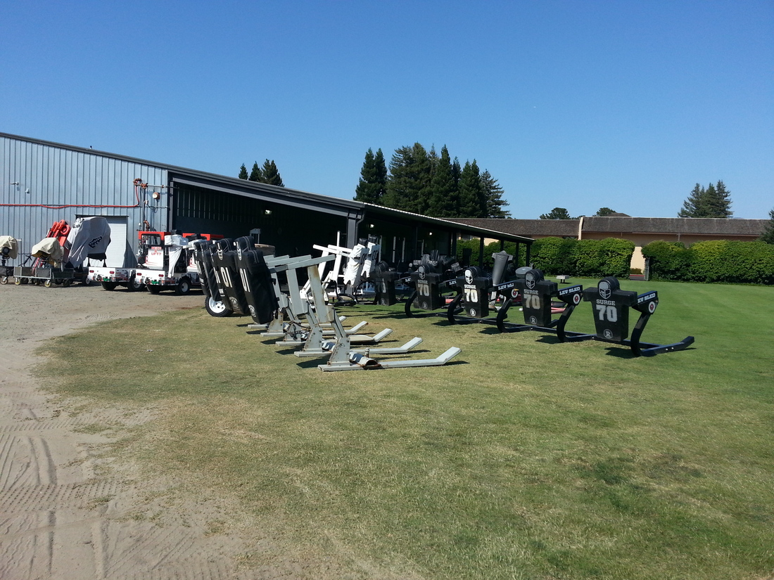 Practice equipment at Raiders training camp facility in Napa California