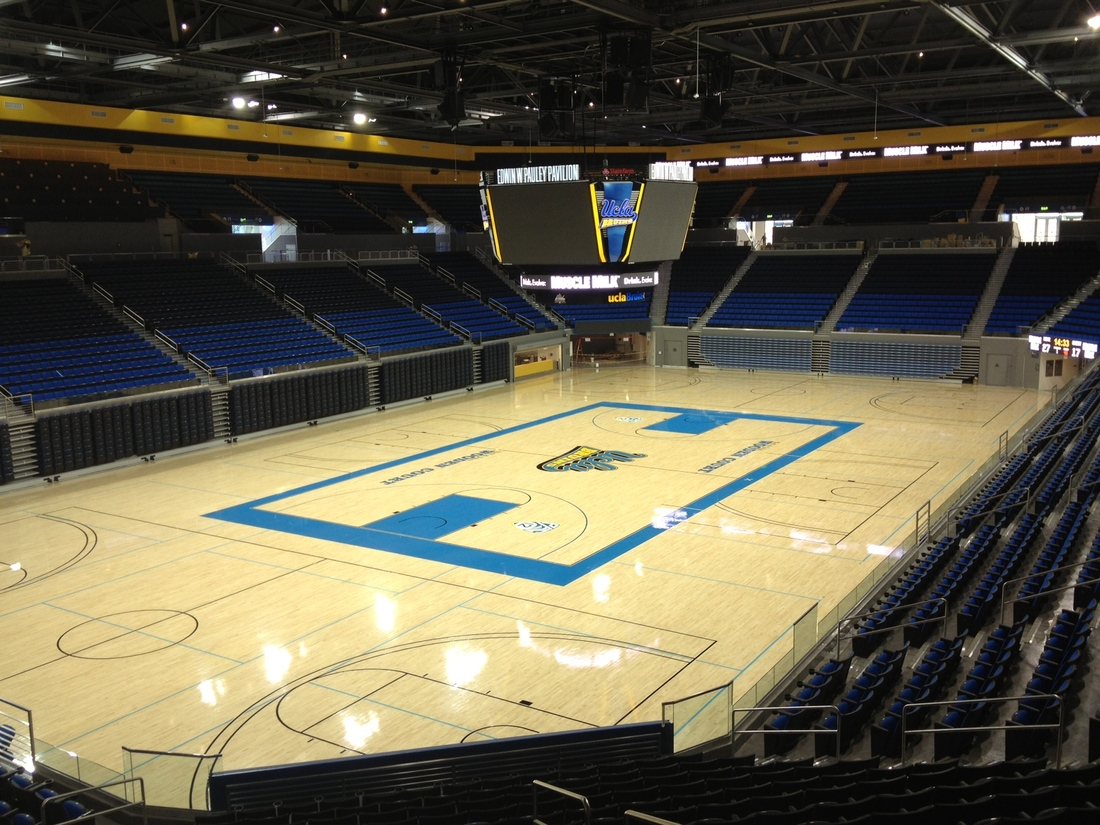 The iconic UCLA circle appear to have been removed from the center court of renovated Pauley Pavilion