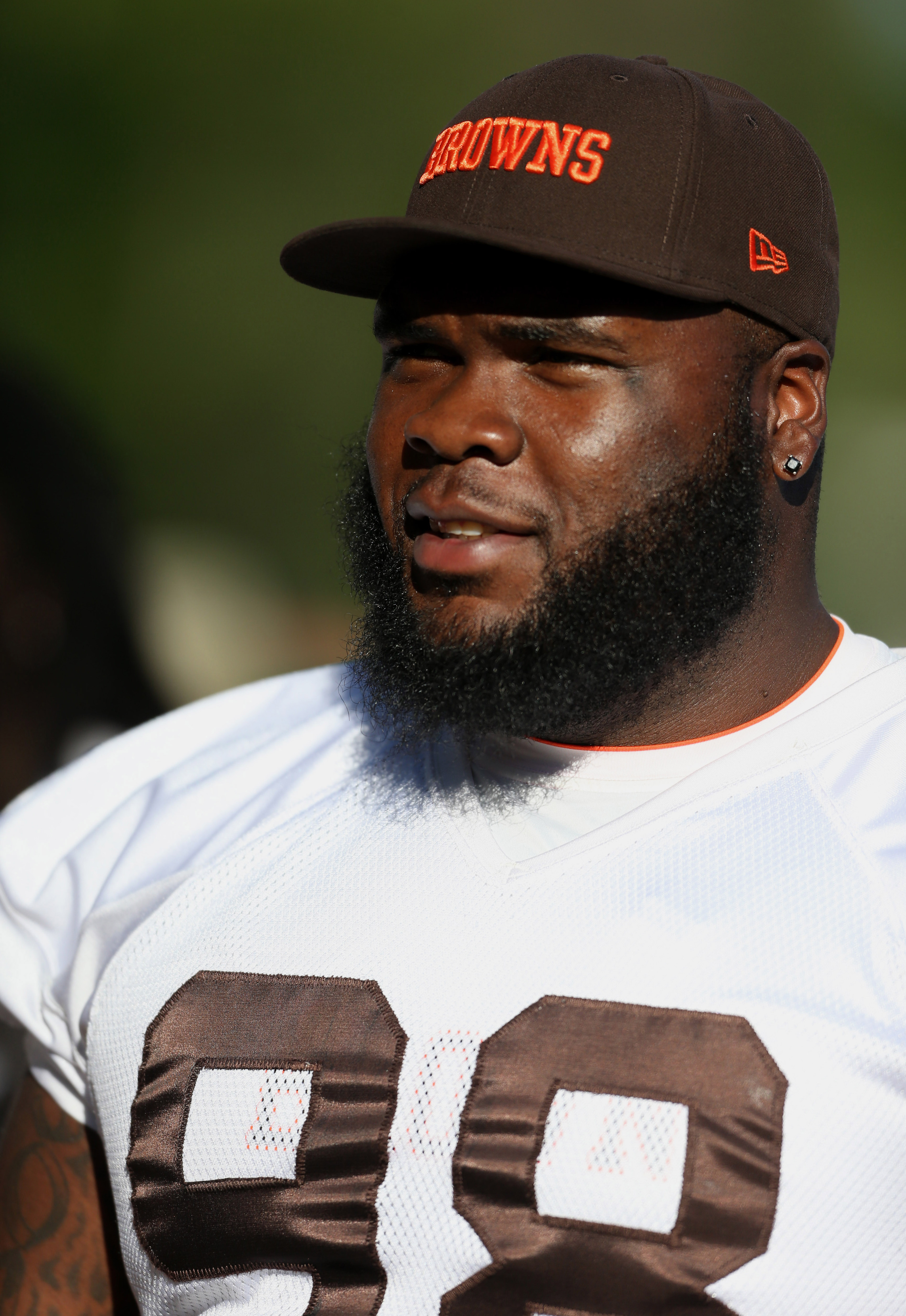 Browns NT Phil Taylor sat out of Day 1 of training camp in Berea with a calf injury.