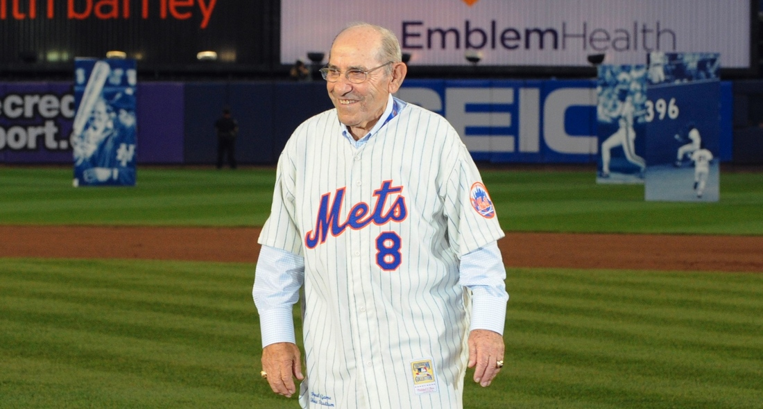 Yogi in 2008, 35 years after leading Mets to their second pennant.