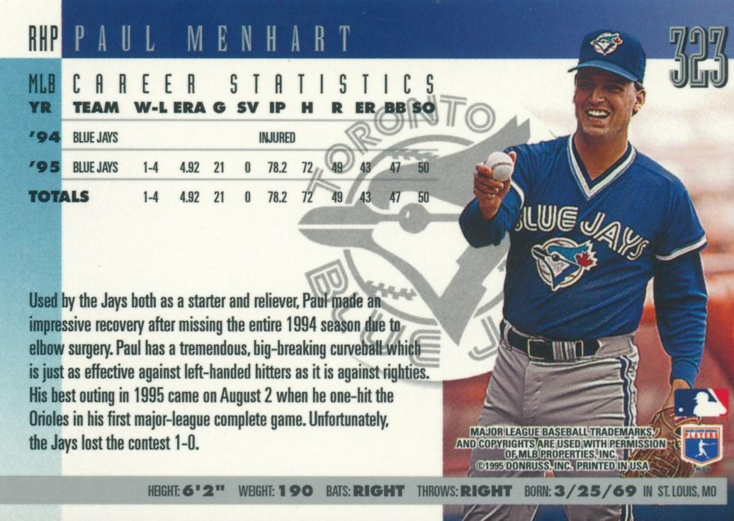 Paul Menhart's 1996 Donruss card.
