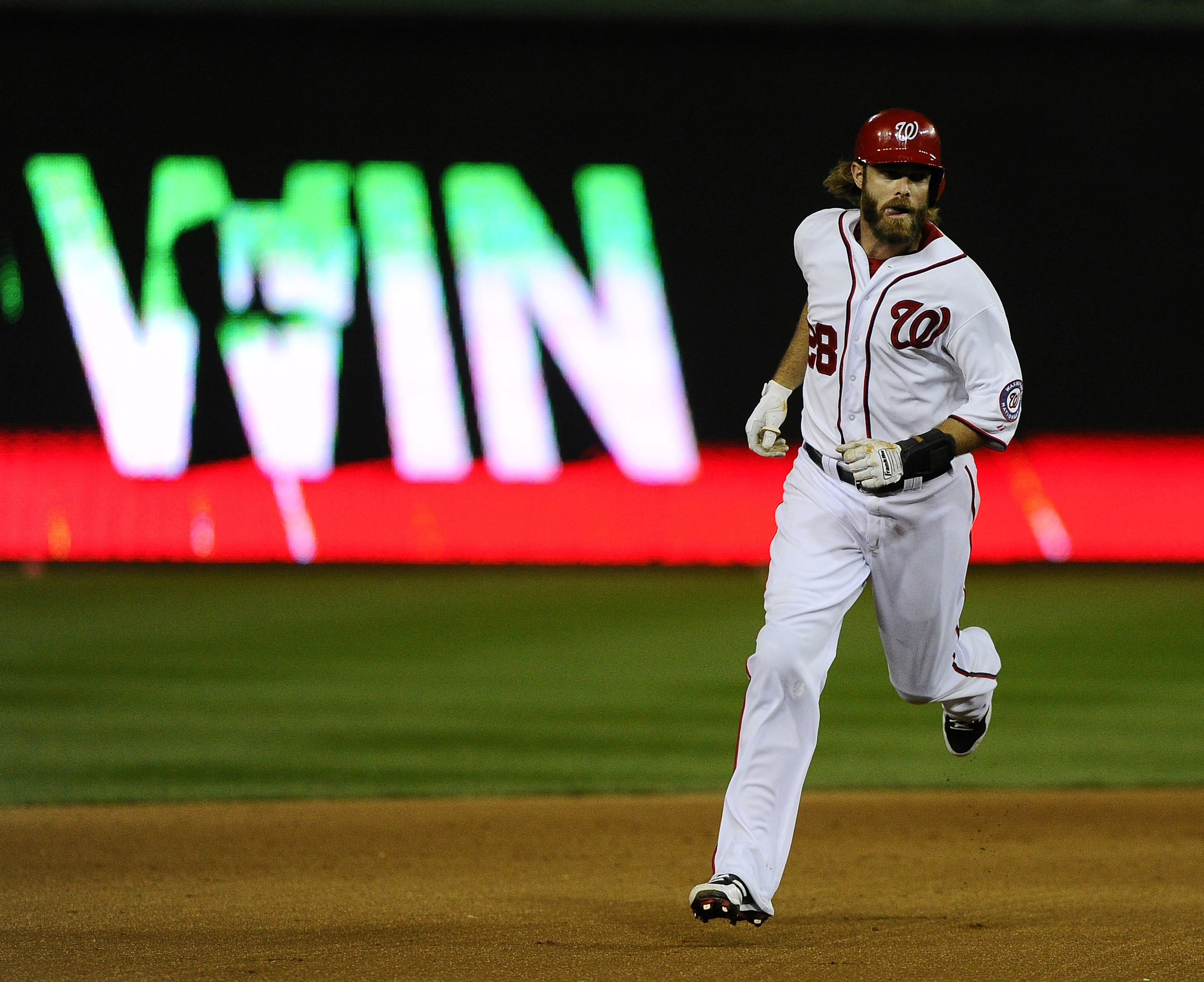 Jayson Werth has a beard. He also worked a 13-pitch at-bat for a Home run.