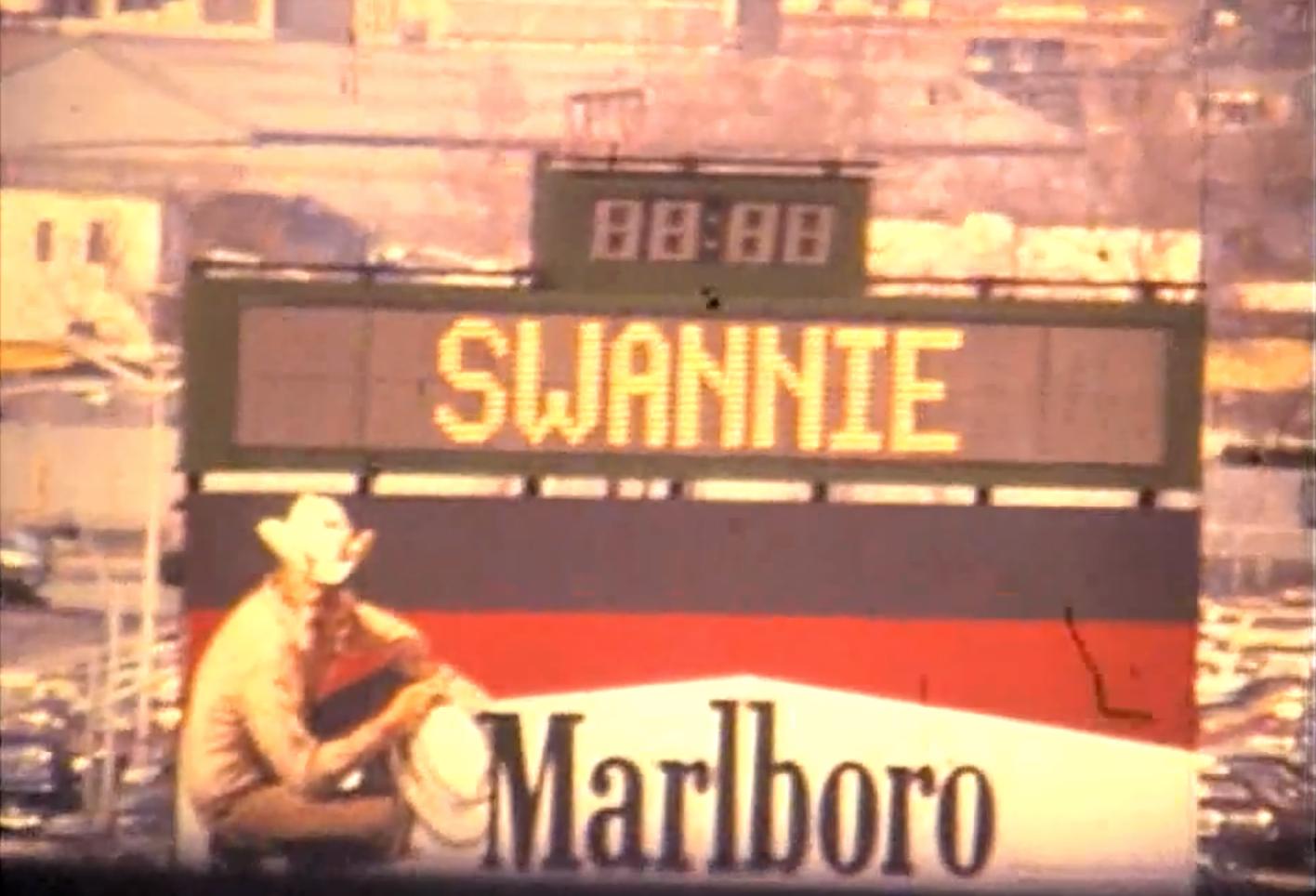 The Shea Stadium scoreboard announcing Craig Swan on Opening Day 1980.