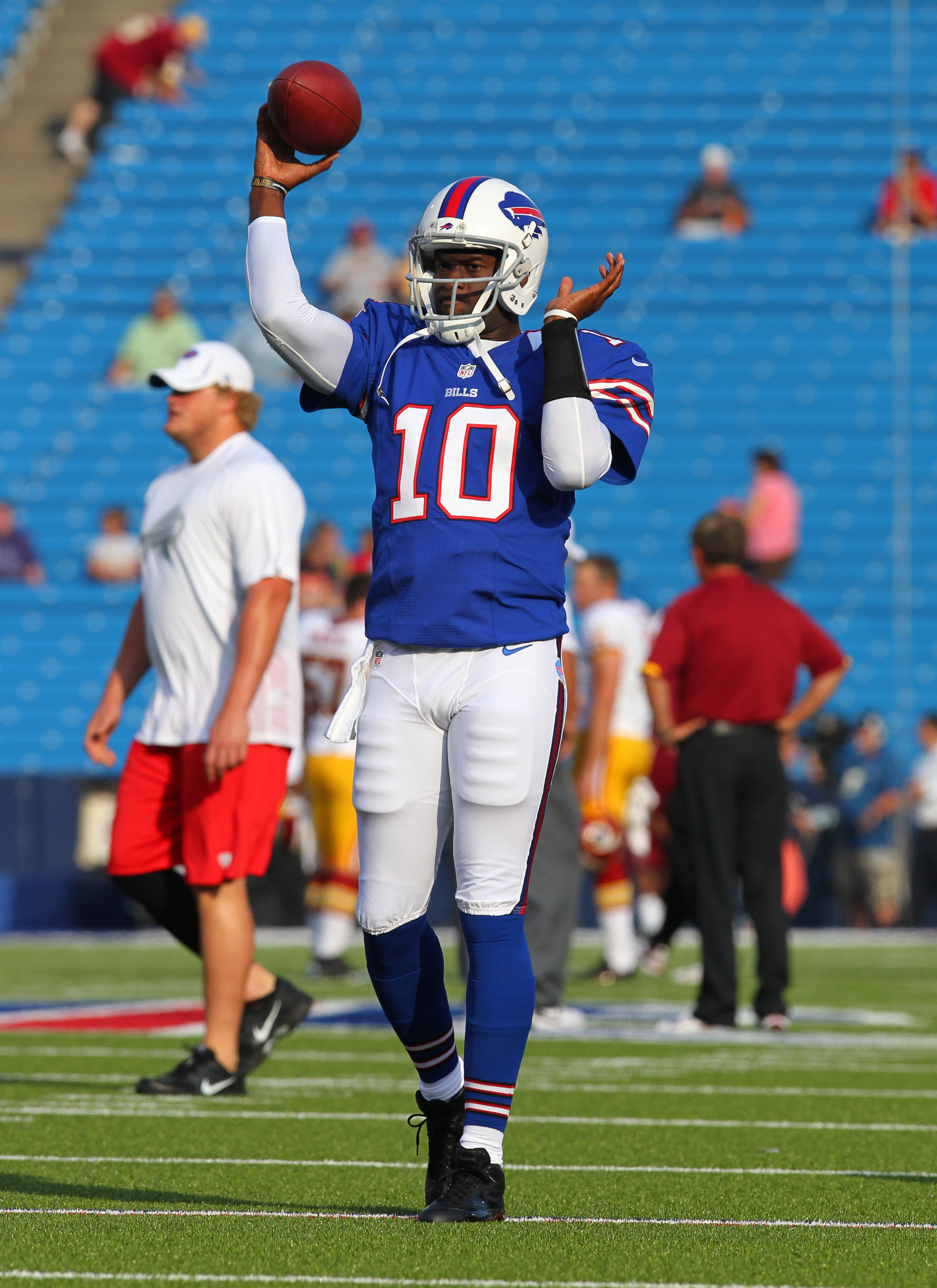 Vince Young (10) warms up before a 2012 game with the Buffalo Bills