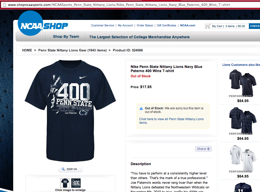NCAA to stop selling player jerseys (but how about that Paterno shirt?)