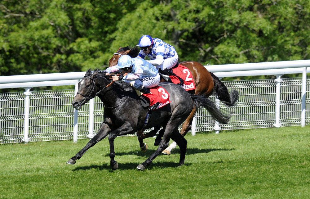 CHICHESTER, ENGLAND - MAY 26: William Buick riding Grandeur wins the 32Red Casino Stakes at Goodwood racecourse on May 26, 2012 in Chichester, England.