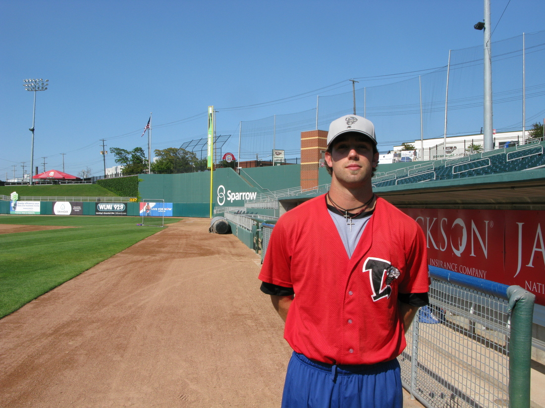 Daniel Norris poses at the end of batting practice at Cooley Law School Stadium in Lansing, Michigan.