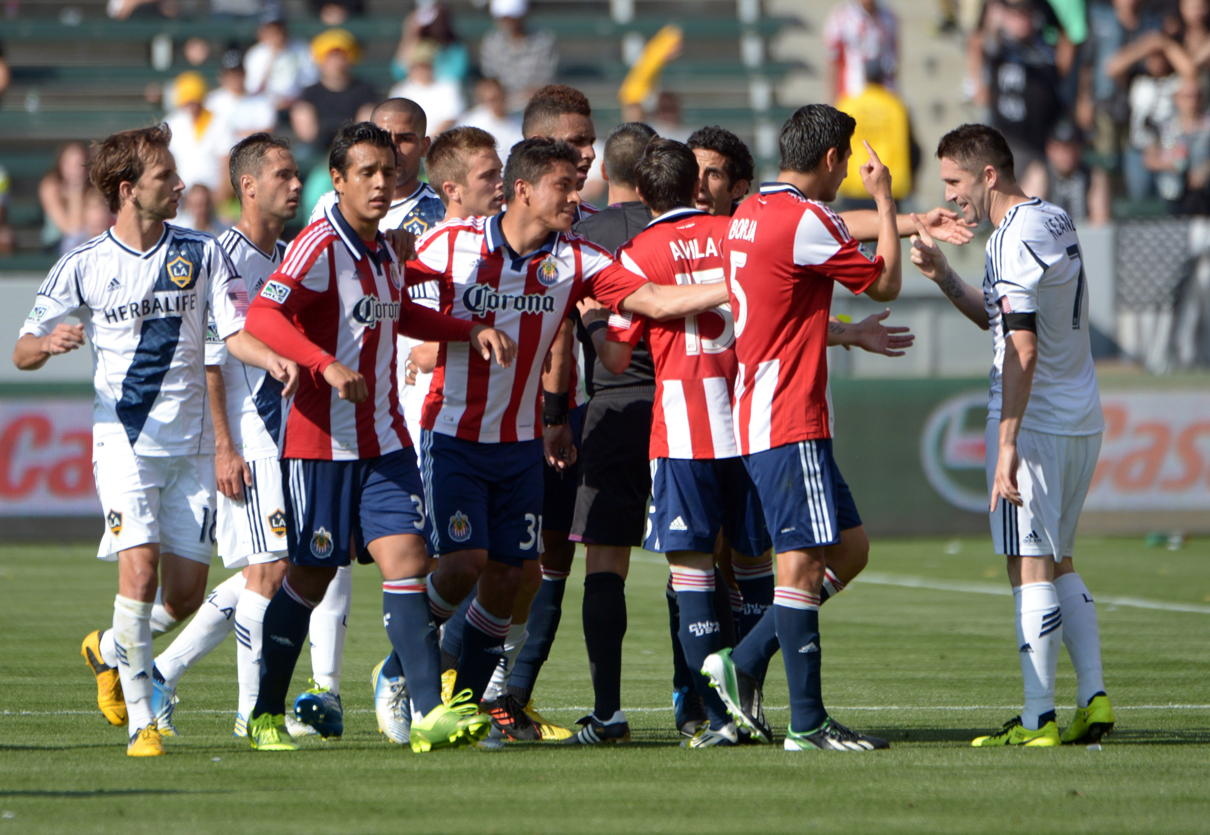 A scuffle between both Los Angeles MLS franchises during the SuperClasico aka Clásico Angelino