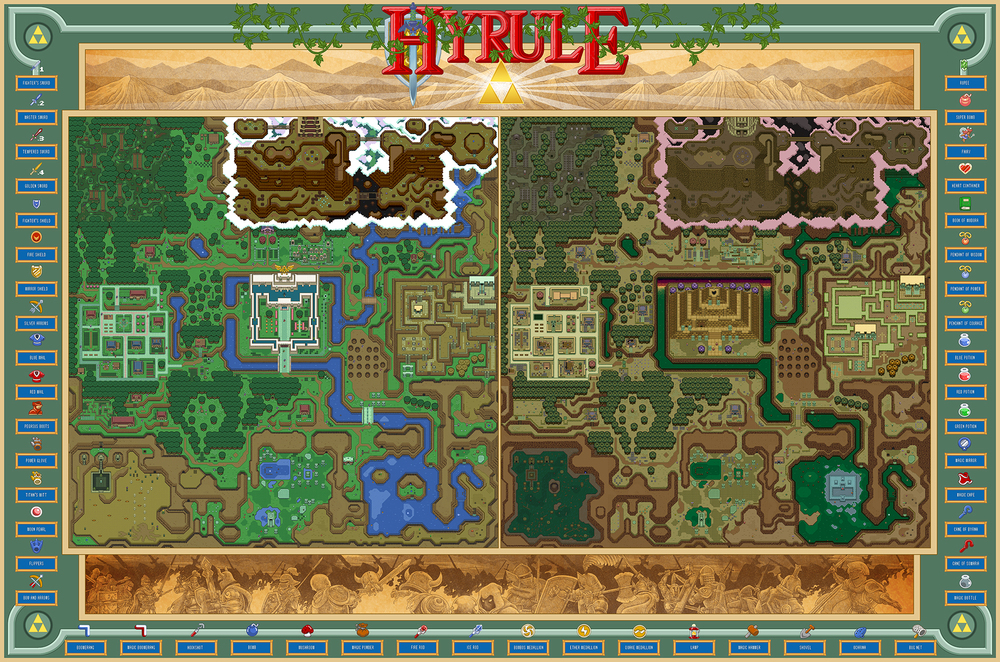 Hyrule from The Legend of Zelda: A Link to the Past recreated as hand-drawn maps