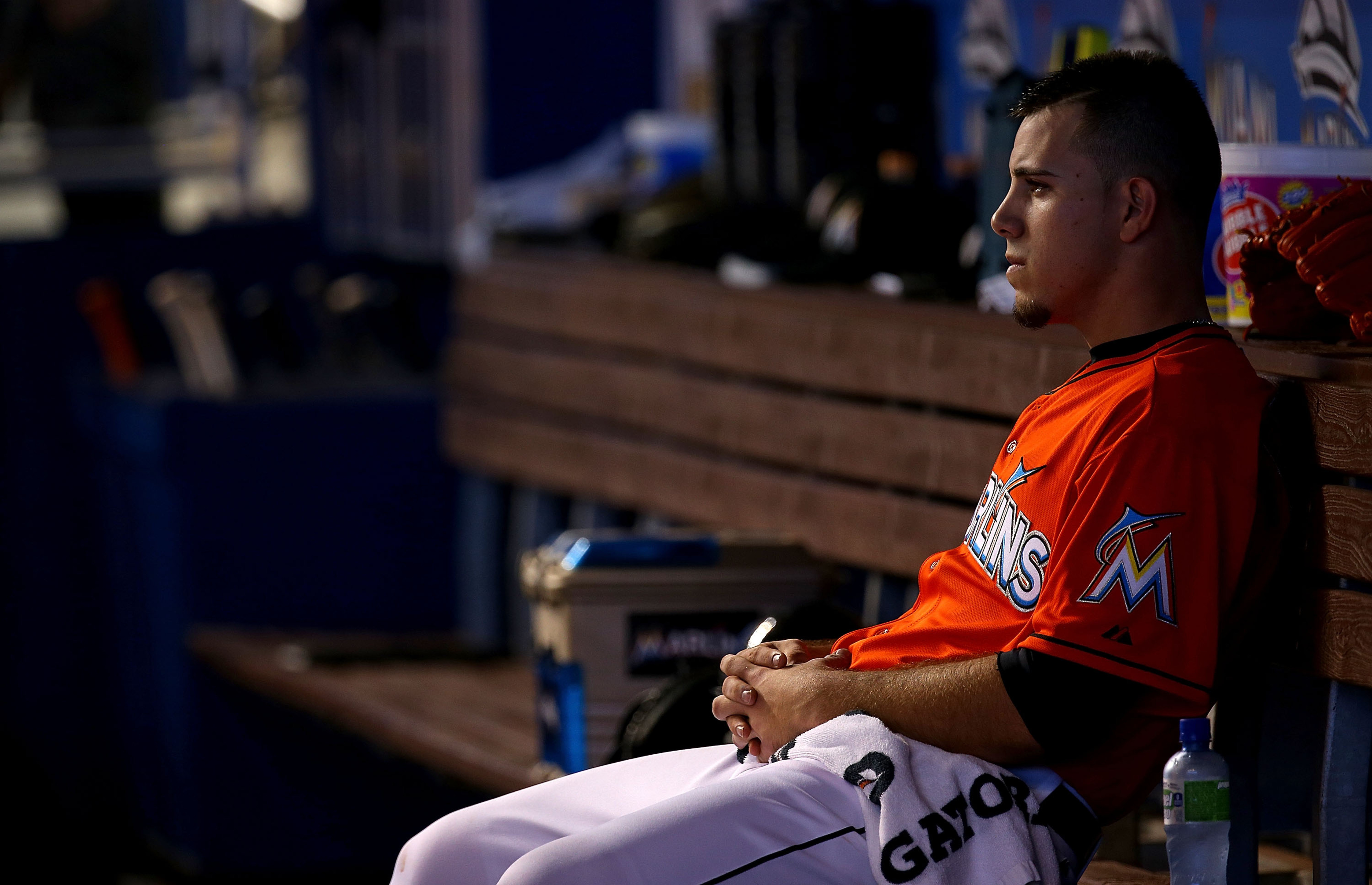 Jose Fernandez, sitting on his throne in Marlins Park, surveying his subjects.