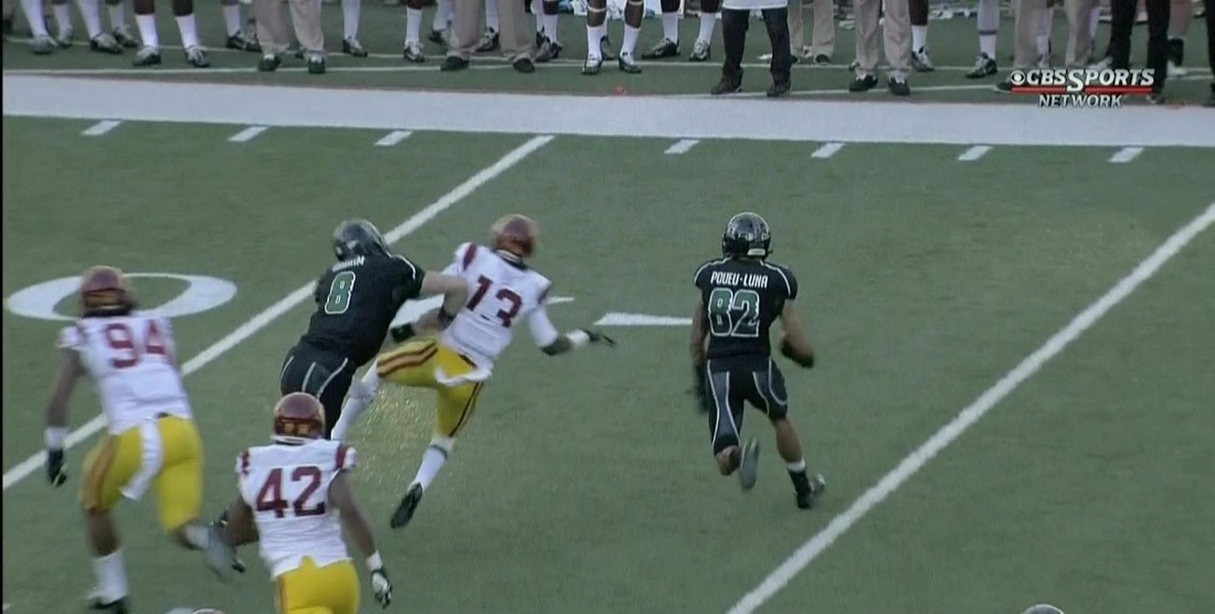 GIF: Watch Hawaii QB Taylor Graham blow up a USC defender
