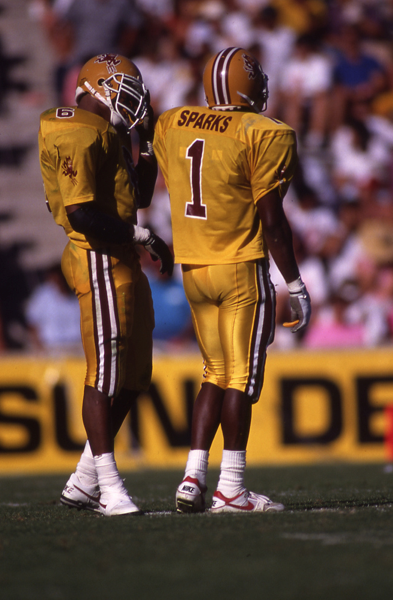 Phillippi Sparks (right) with Darren Woodson.