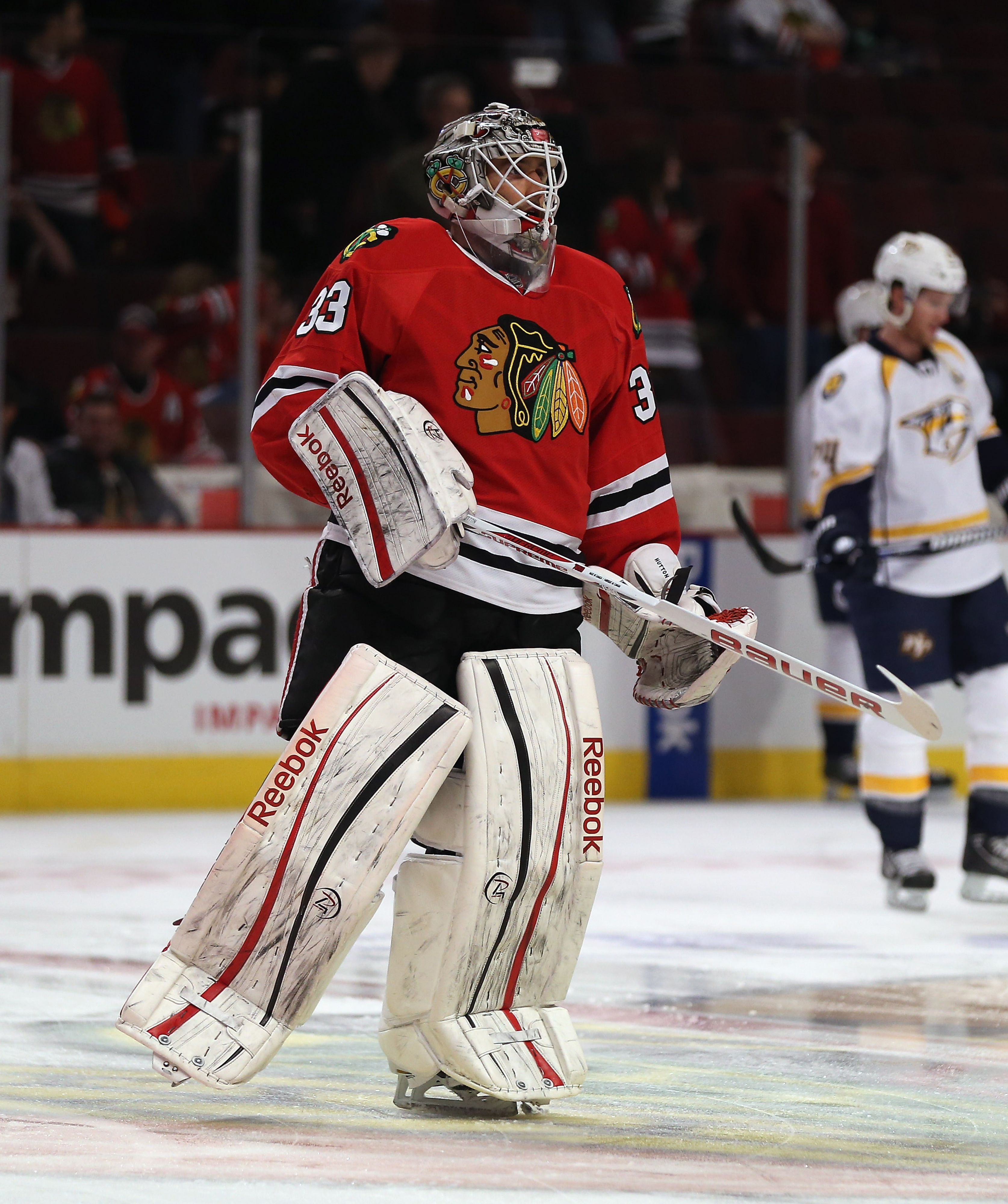 Hutton's move from Chicago to Nashville gives him an immediate chance for NHL action.