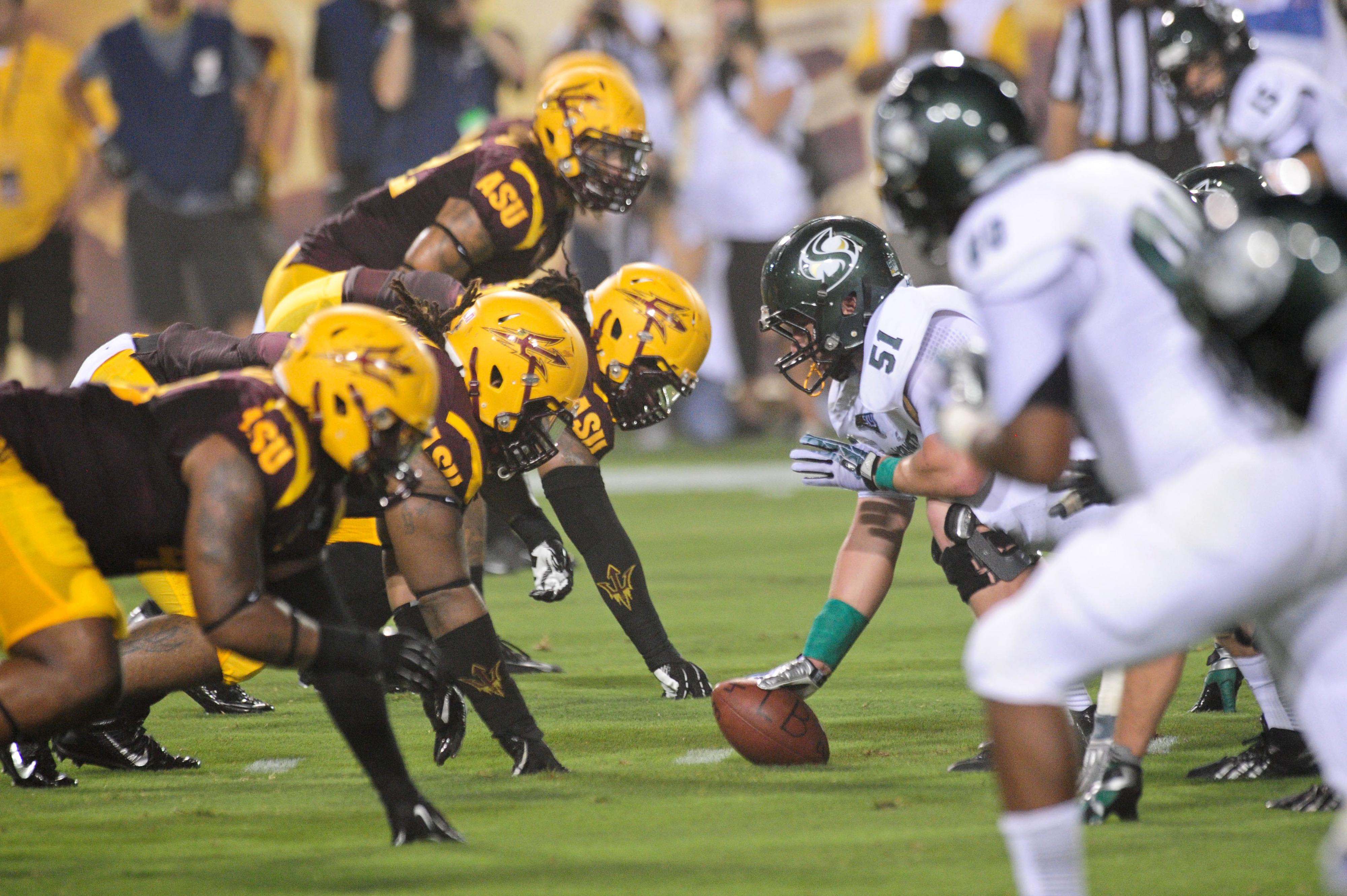 The defensive line shut down the run against Sacramento State.