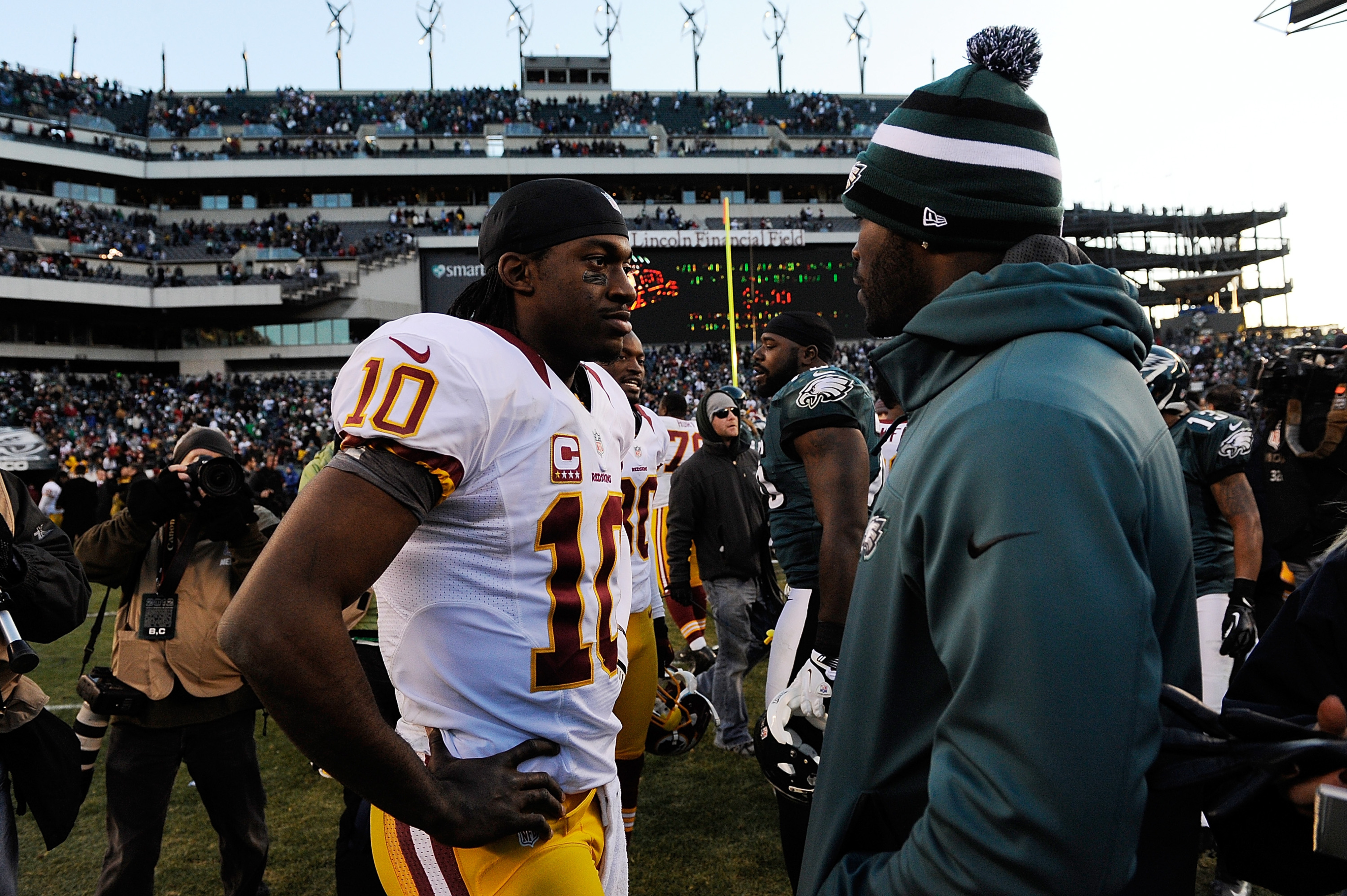 Robert Griffin III and Michael Vick will square off tonight in the first game of Monday Night Football's doubleheader.