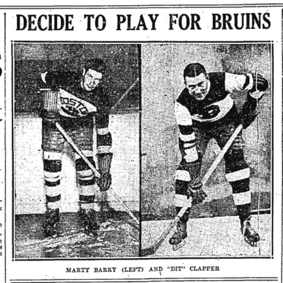 Marty Barry and Dit Clapper, Boston Bruins Holdouts.