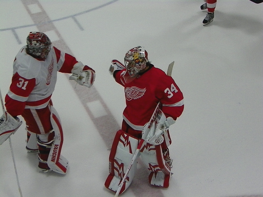 Jared Coreau and Petr Mrazek after the Red and White Game