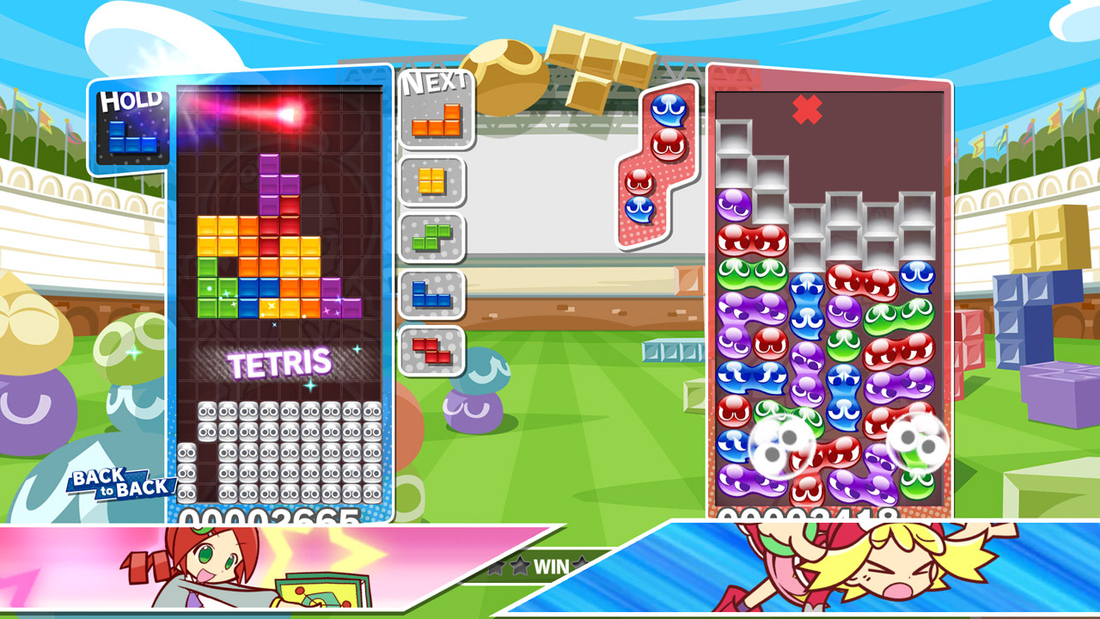 Puyo Puyo Tetris is a simple, cute hybrid of two puzzle game classics