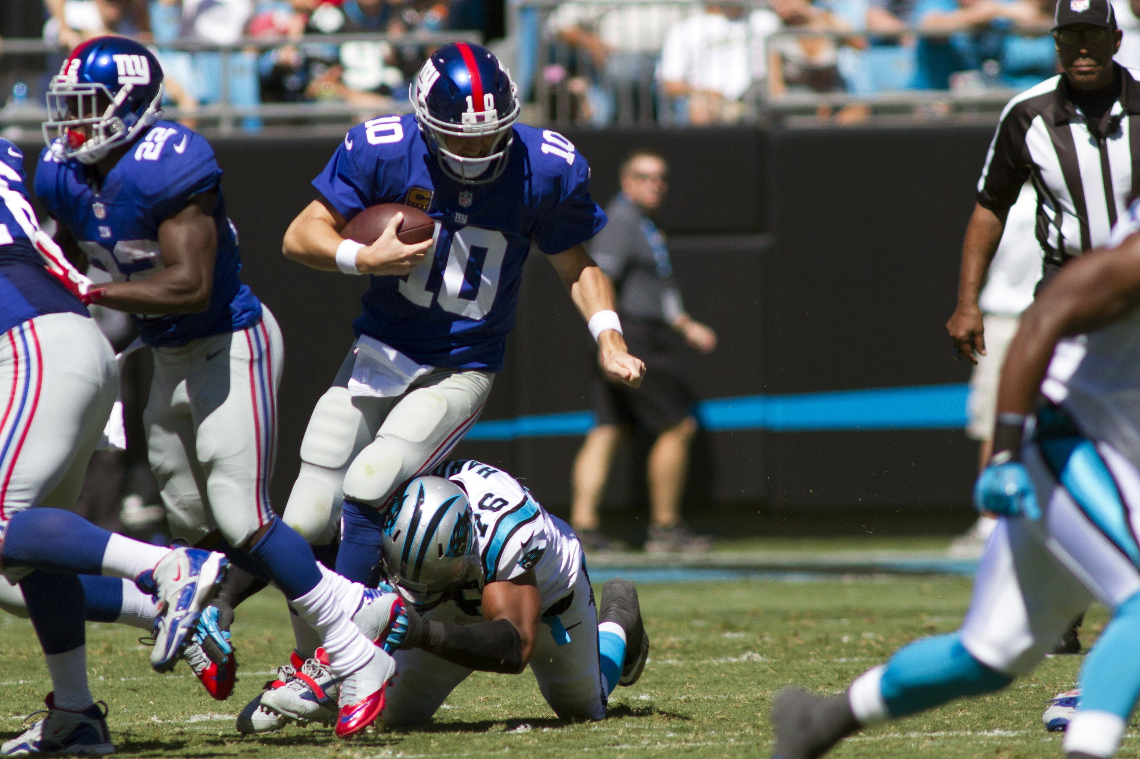 Eli Manning has been buried by the Carolina pass rush in the first half.