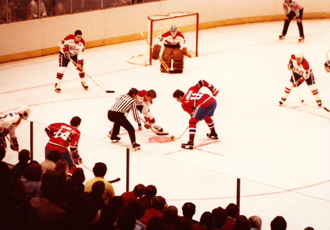 Old school jerseys, old school hockey.