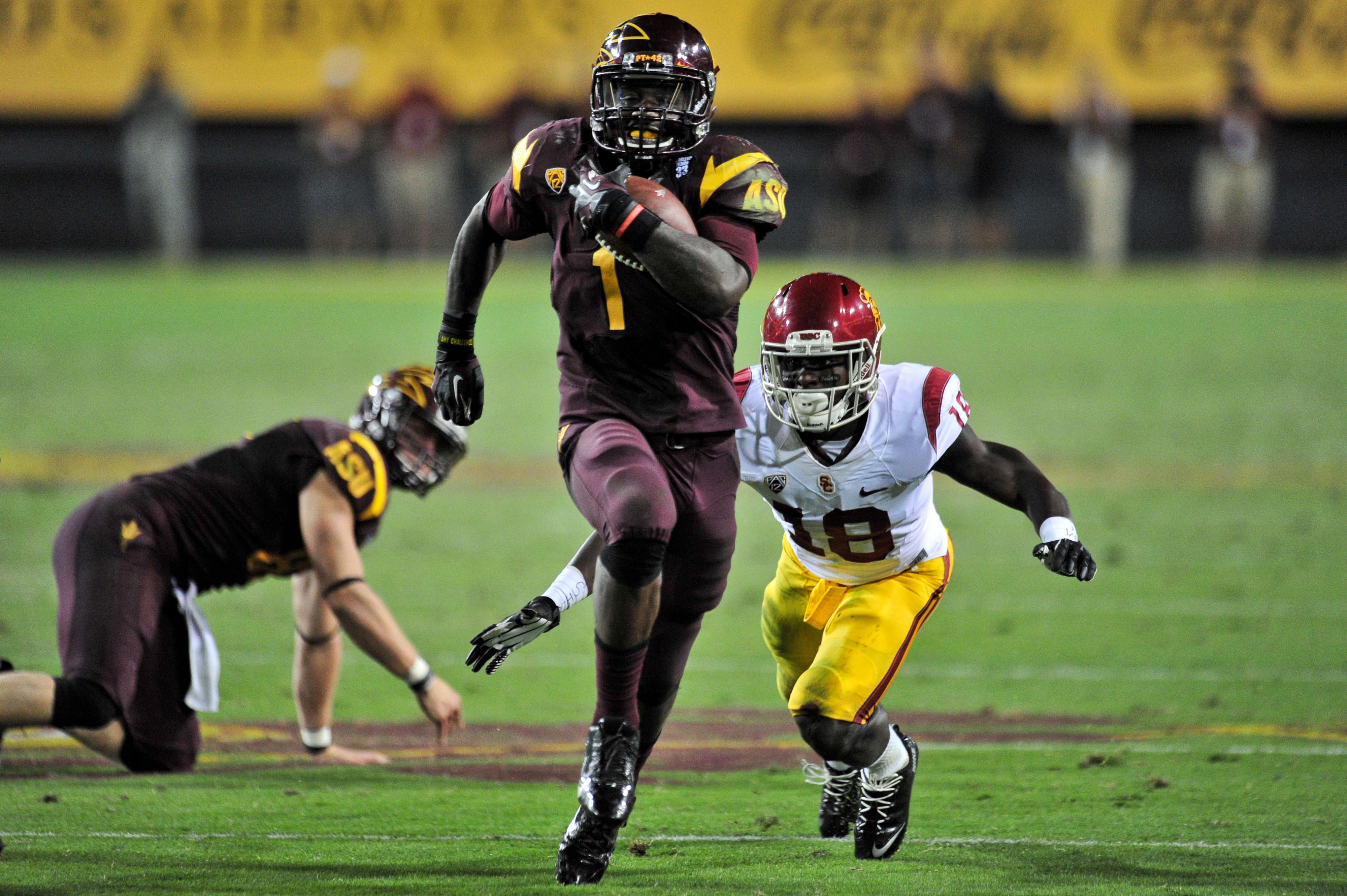 Marion Grice had 99 total yards and four touchdowns Saturday night against the Trojans.