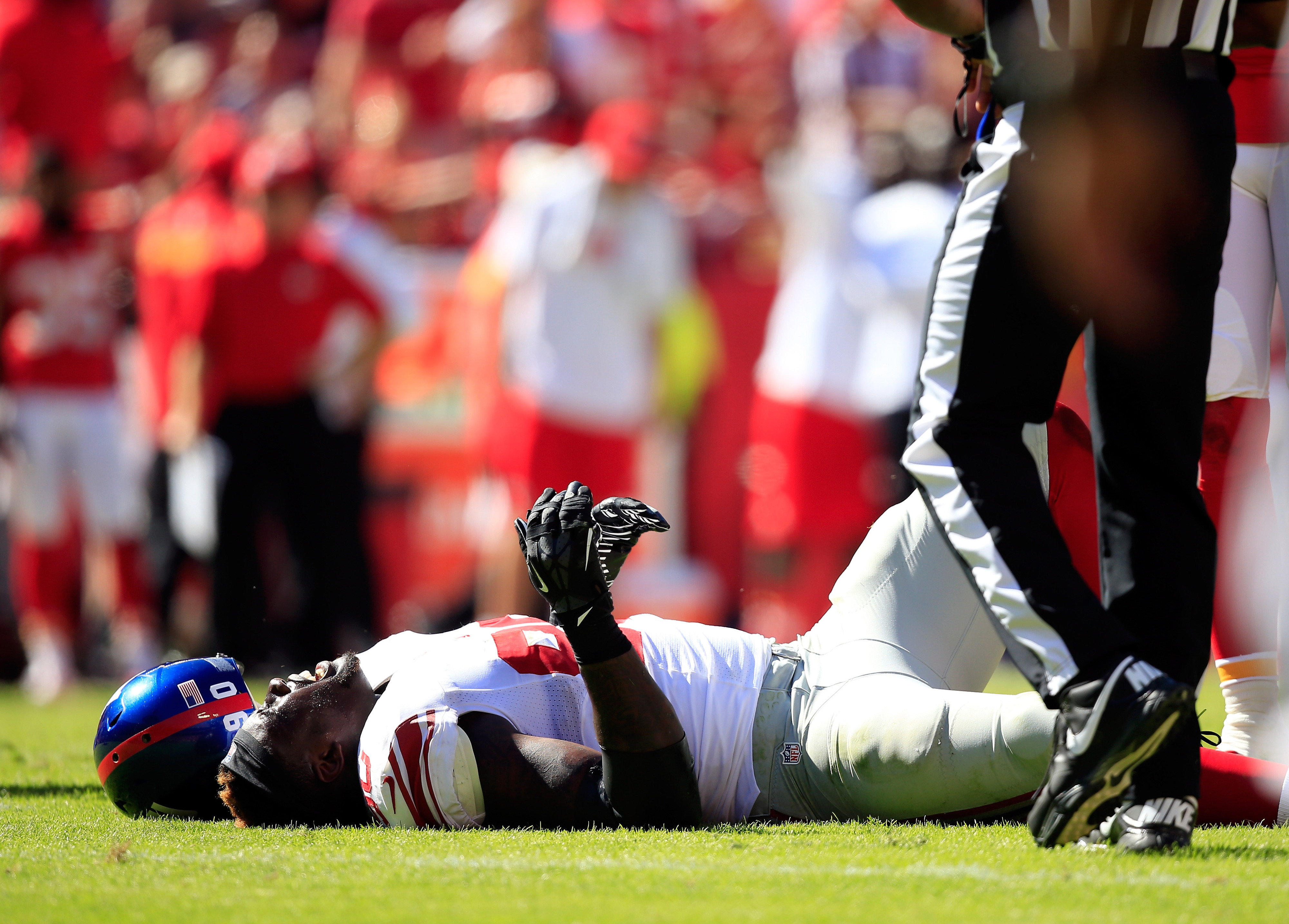 Jason Pierre-Paul after hurting his knee Sunday.