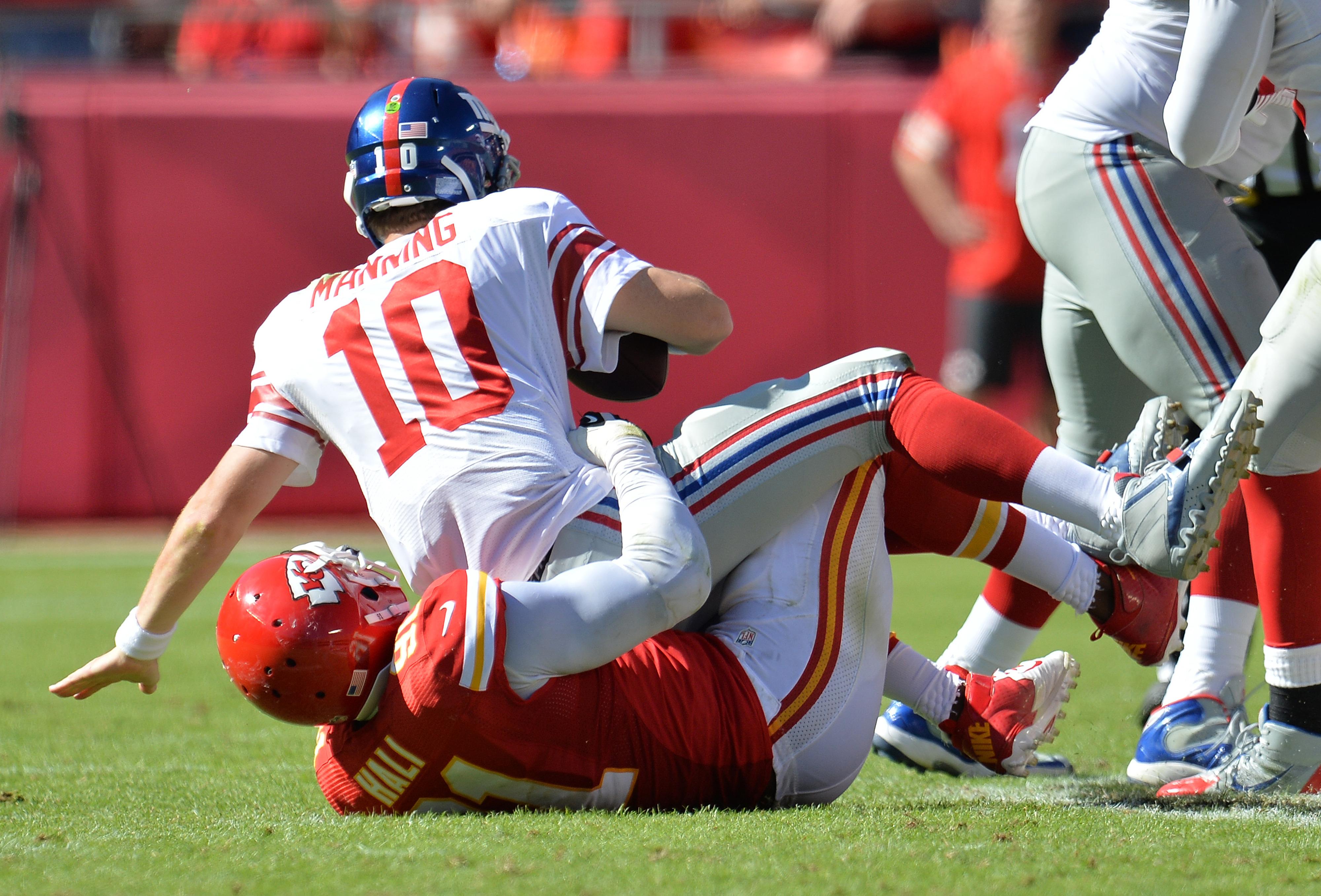 Eli Manning is sacked on Sunday