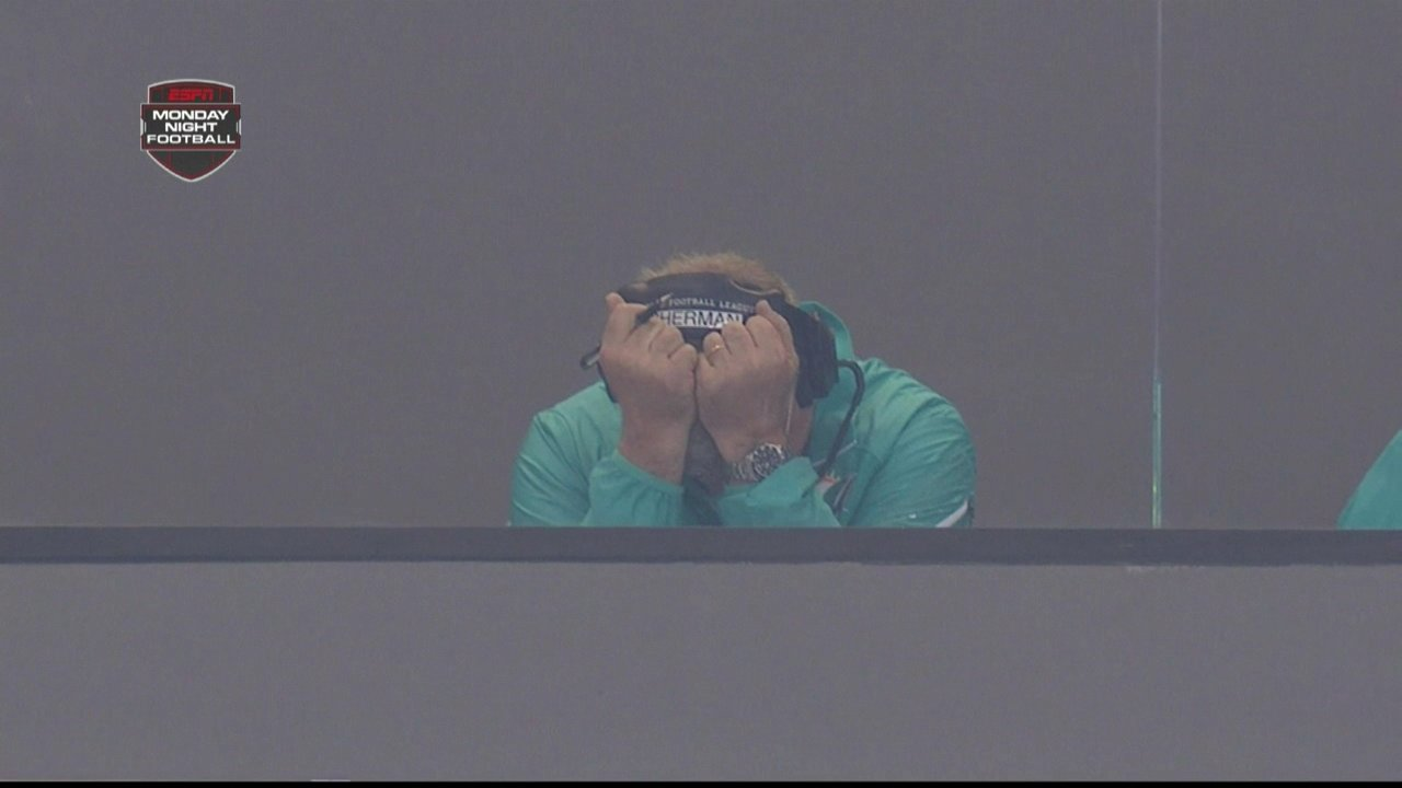 Mike Sherman facepalms over Dolphins turnovers