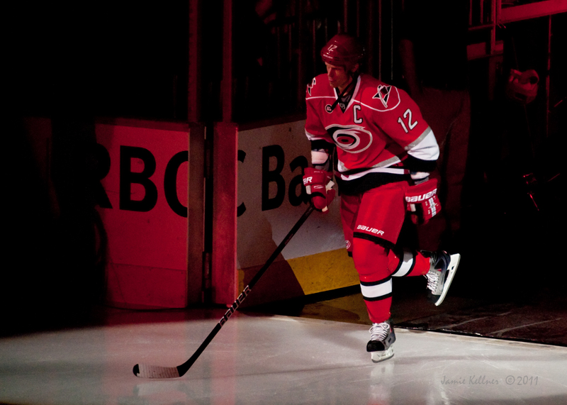 Carolina Hurricanes captain Eric Staal skates out for player introductions in the season home opener against the Tampa Bay Lightning on October 7, 2011.