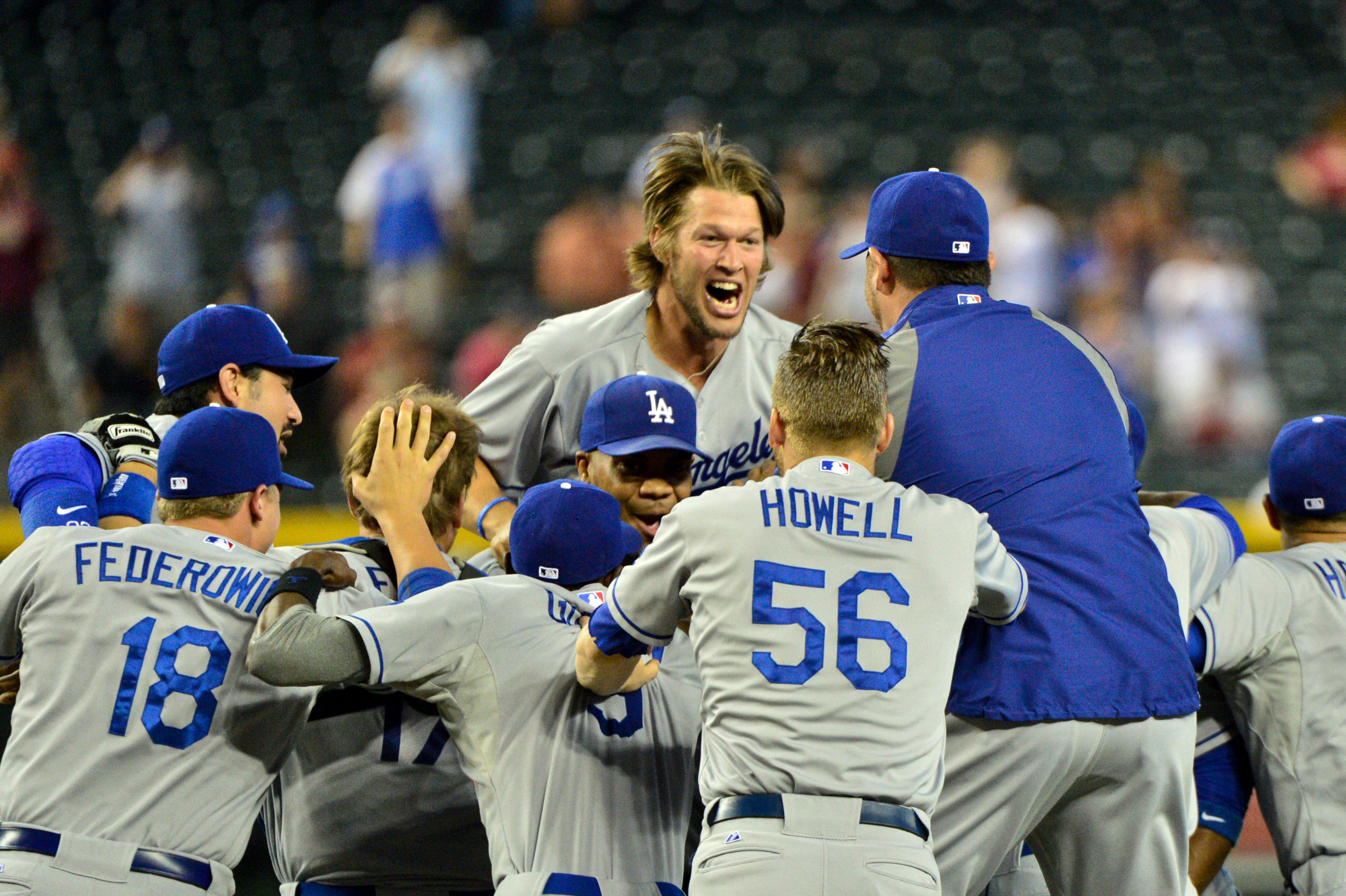 Clayton Kershaw and the Dodgers celebrate.