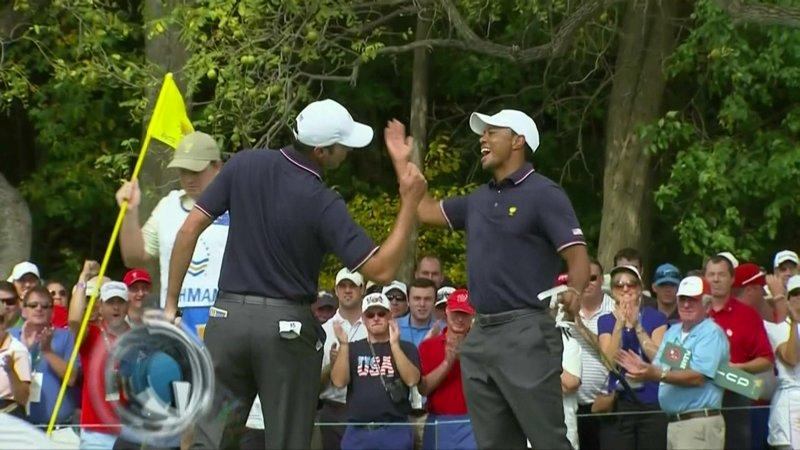 Tiger Woods, Matt Kuchar perform some terribly dorky Presidents Cup high-5 move