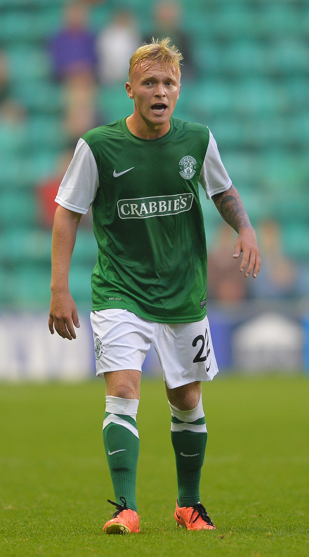 Fraser Mullen of Hibernian during the UEFA Europa League Second Round Second Leg Qualifying match between Hibernian and Malmo at Easter Road on July 25, 2013 in Edinburgh, Scotland.