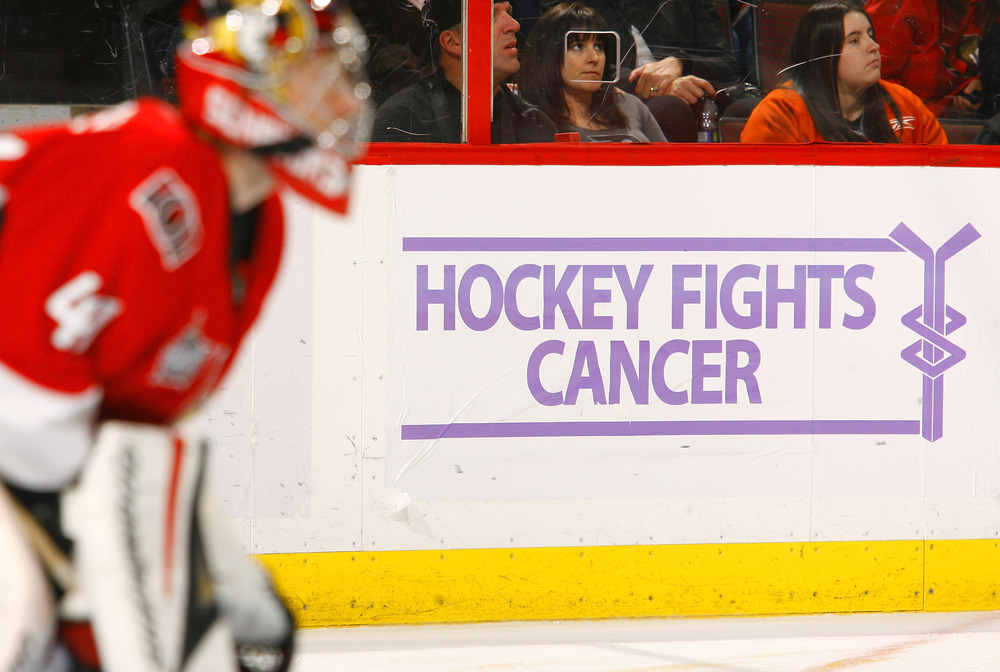 Craig Anderson of the Ottawa Senators defends his net against the Philadelphia Flyers during the Hockey Fights Cancer Night at Scotiabank Place on October 18, 2011 in Ottawa. (Photo by Phillip MacCallum/Getty Images)