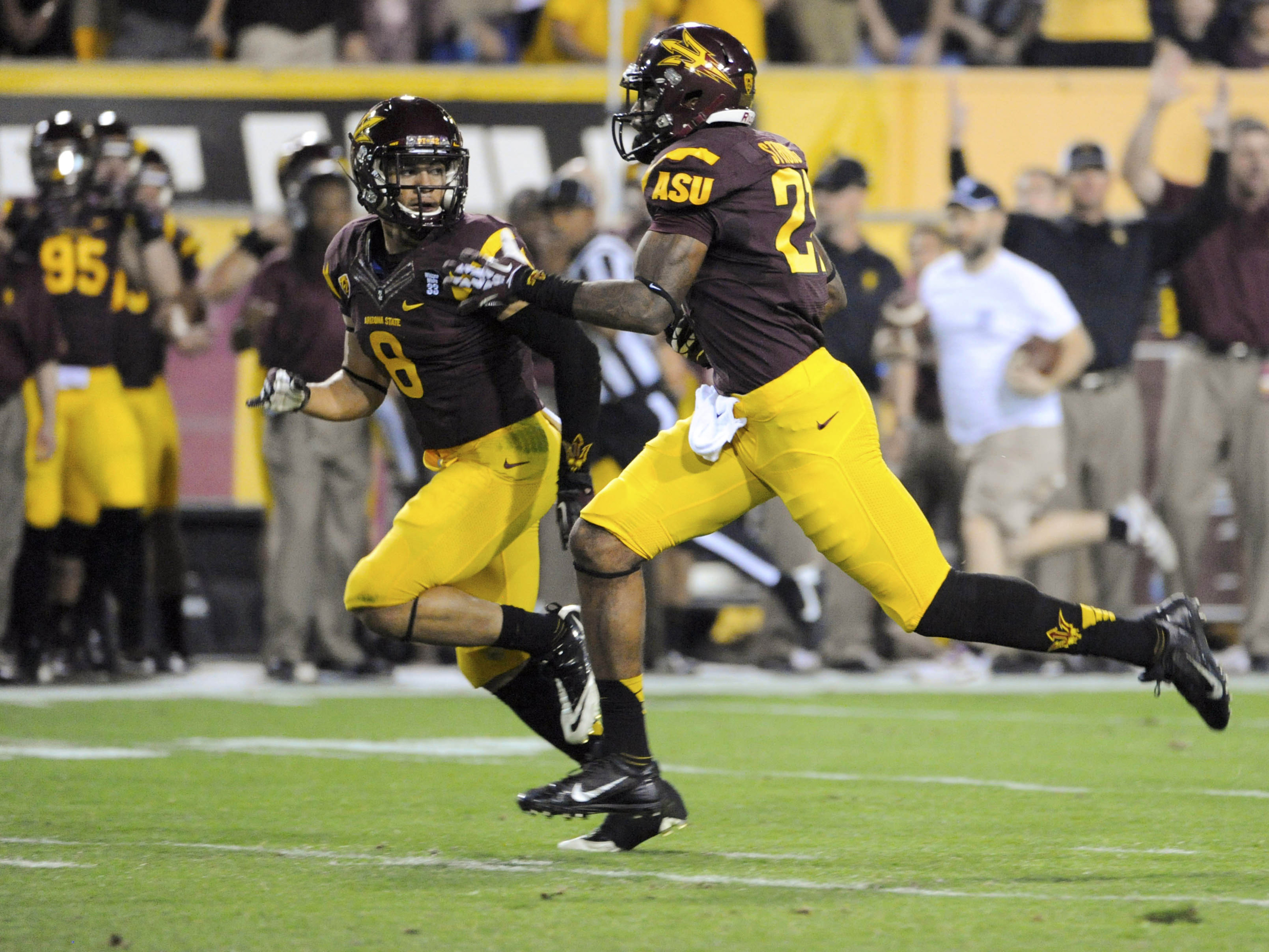 Jaelen Strong with a 69-yard touchdown reception to get the scoring started for Arizona State.