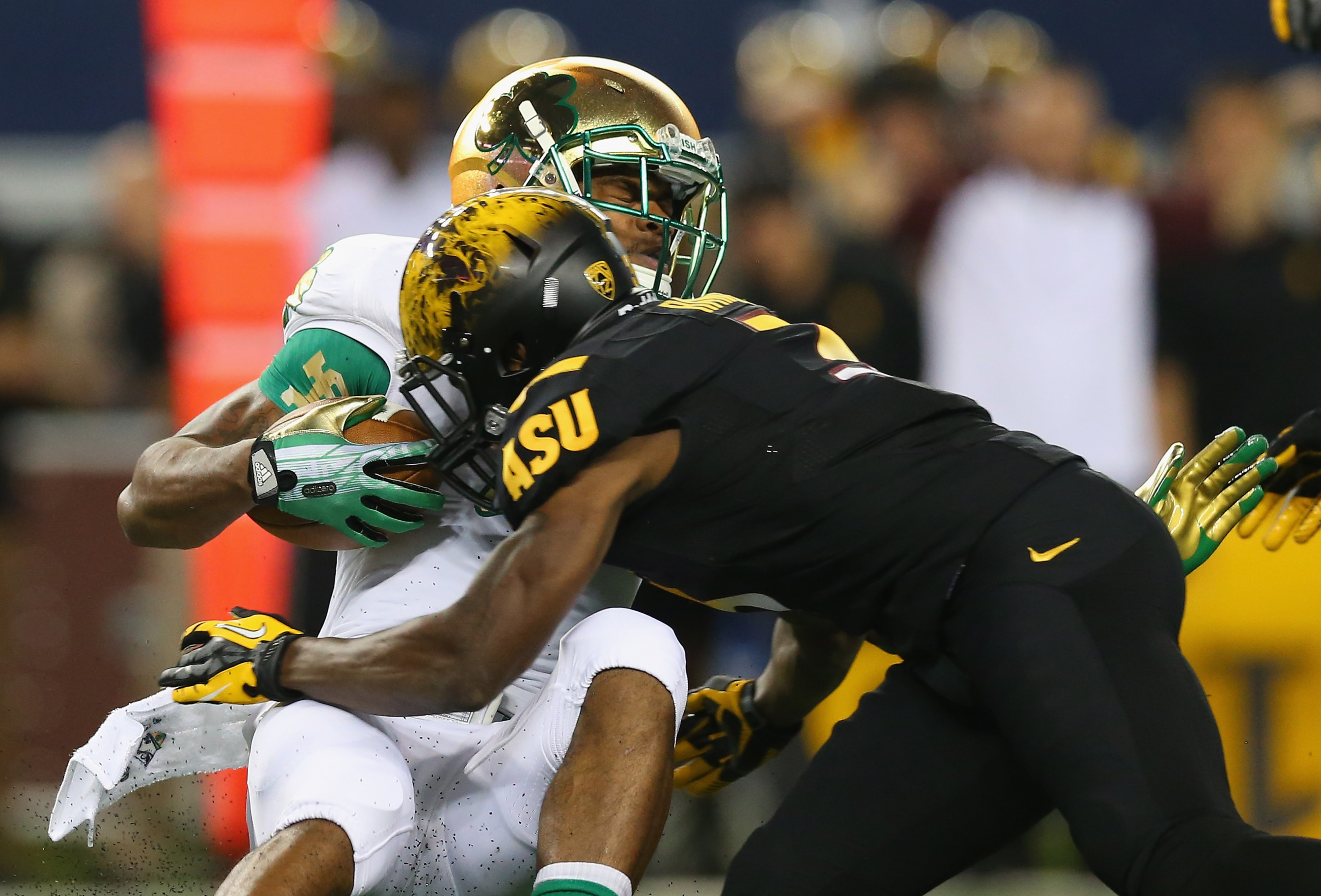 Damarious Randall makes one of his 17 tackles against Notre Dame on October 5.