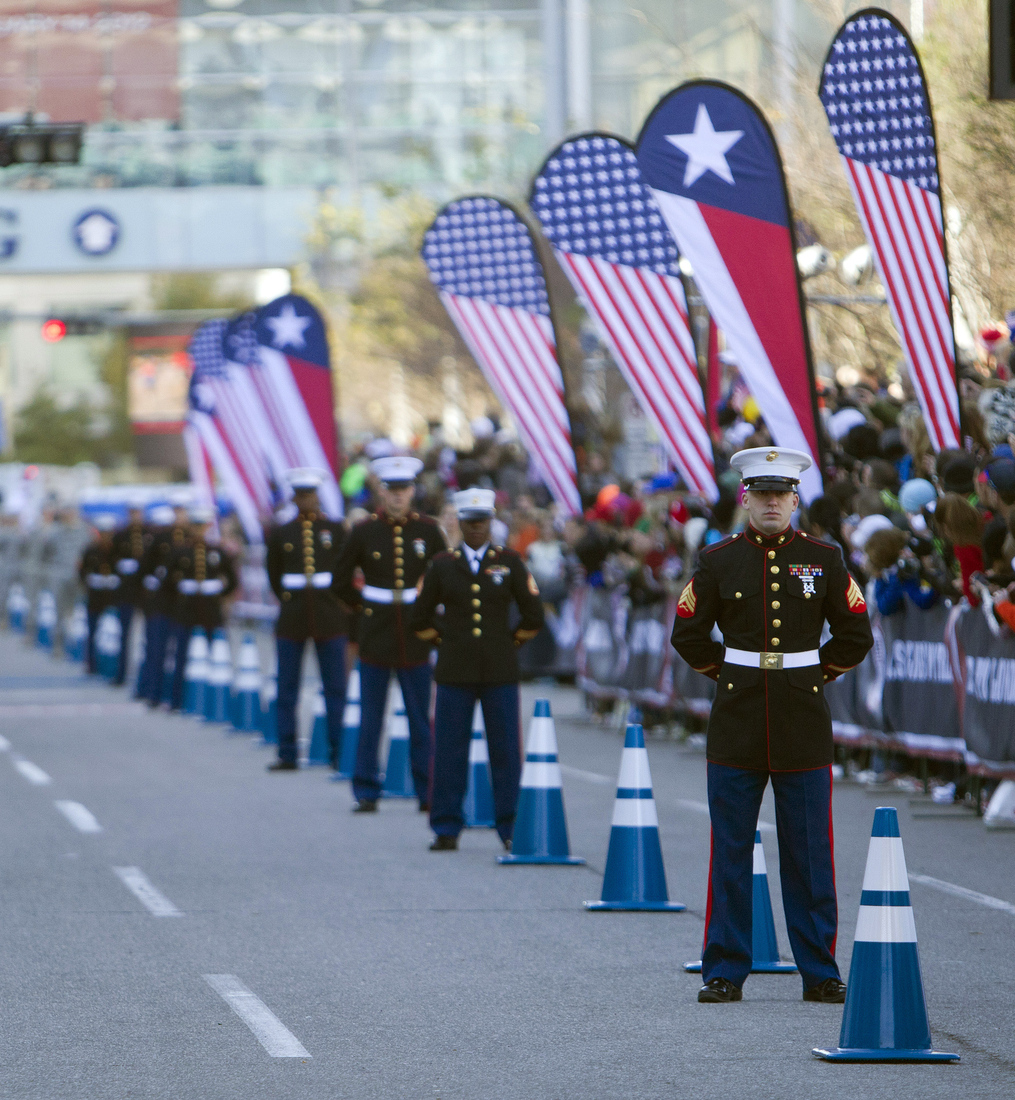 Marines line the final leg ogf the course during the U.S. Marathon Olympic Trials on January 14, 2012 in Houston, Texas.