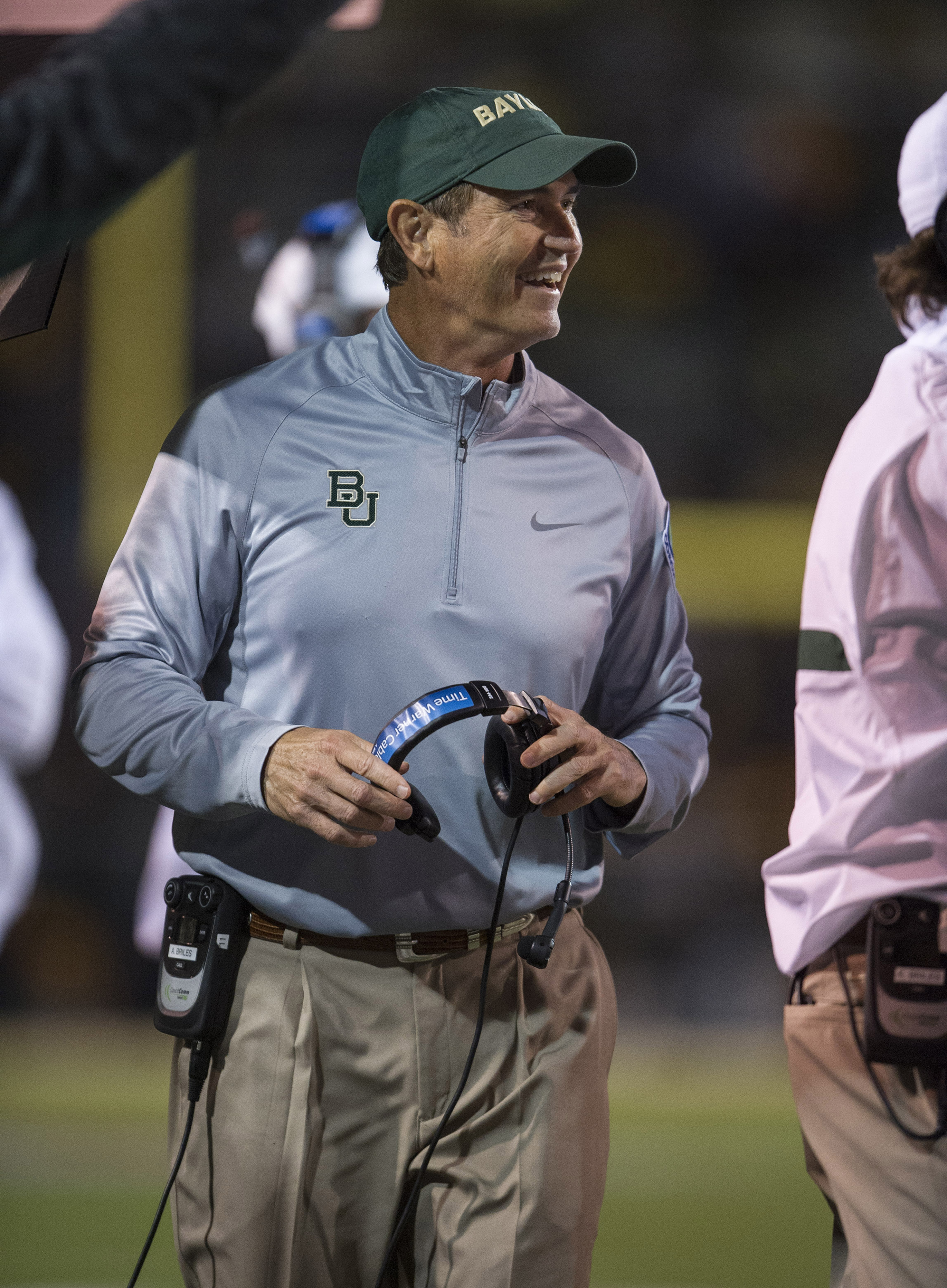 You know why Art Briles is happy? Because it's podcast time. That's why.