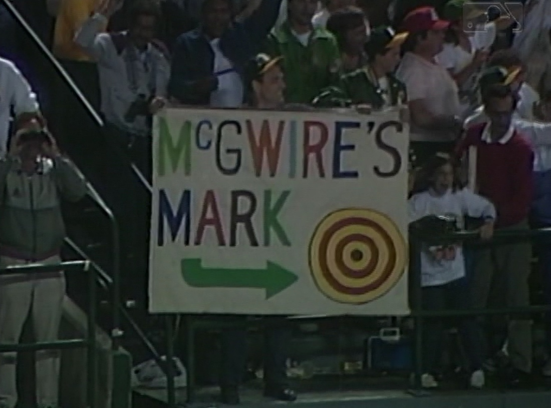 Mark McGwire's game-winning home run in Game 3 didn't land too far from this sign in left field in Oakland.