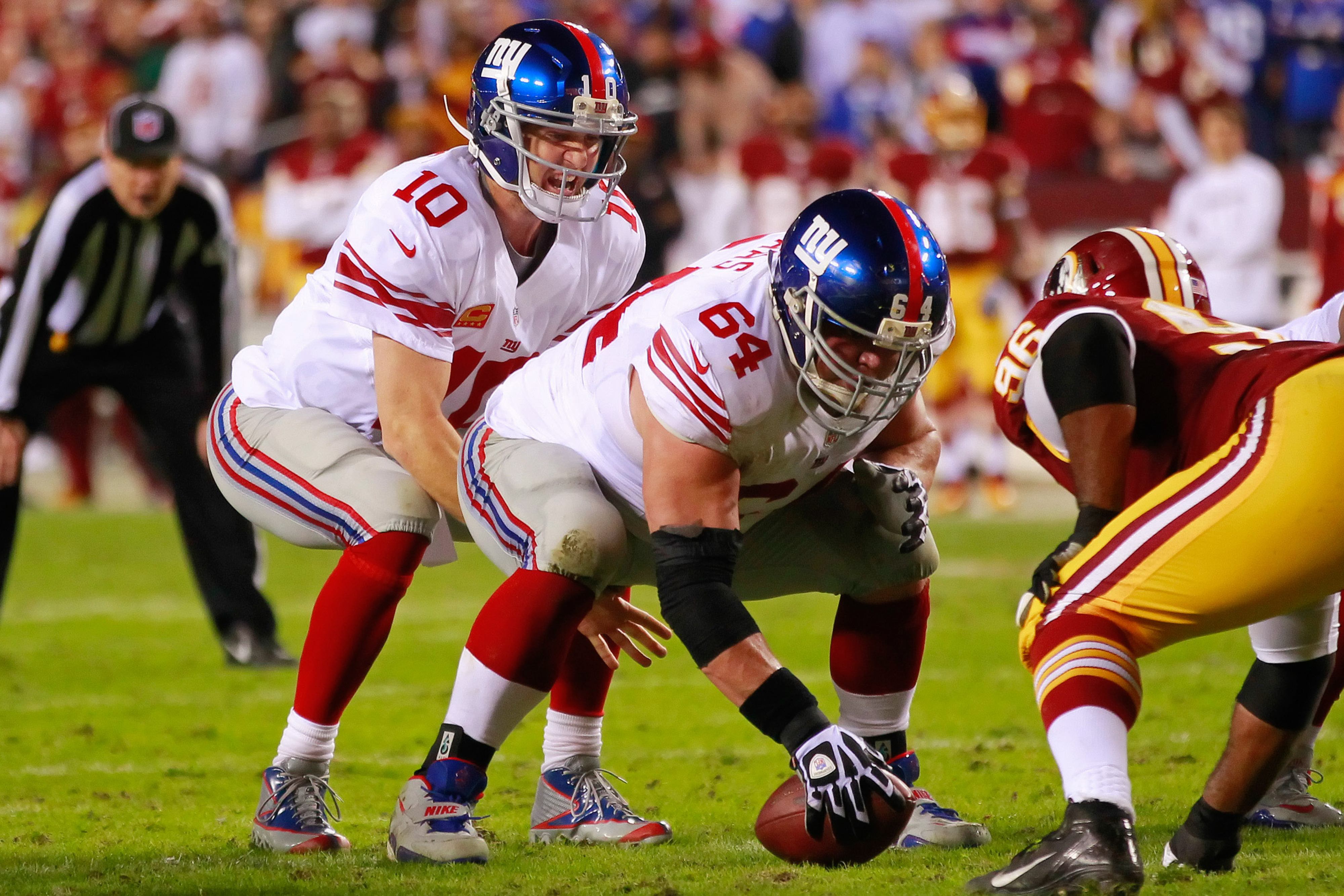 David Baas could be snapping to Eli Manning Monday night.