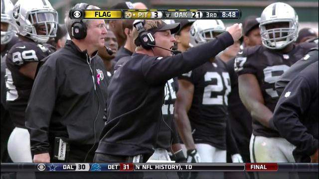 Raiders defensive coordinator gives ref the middle finger twice