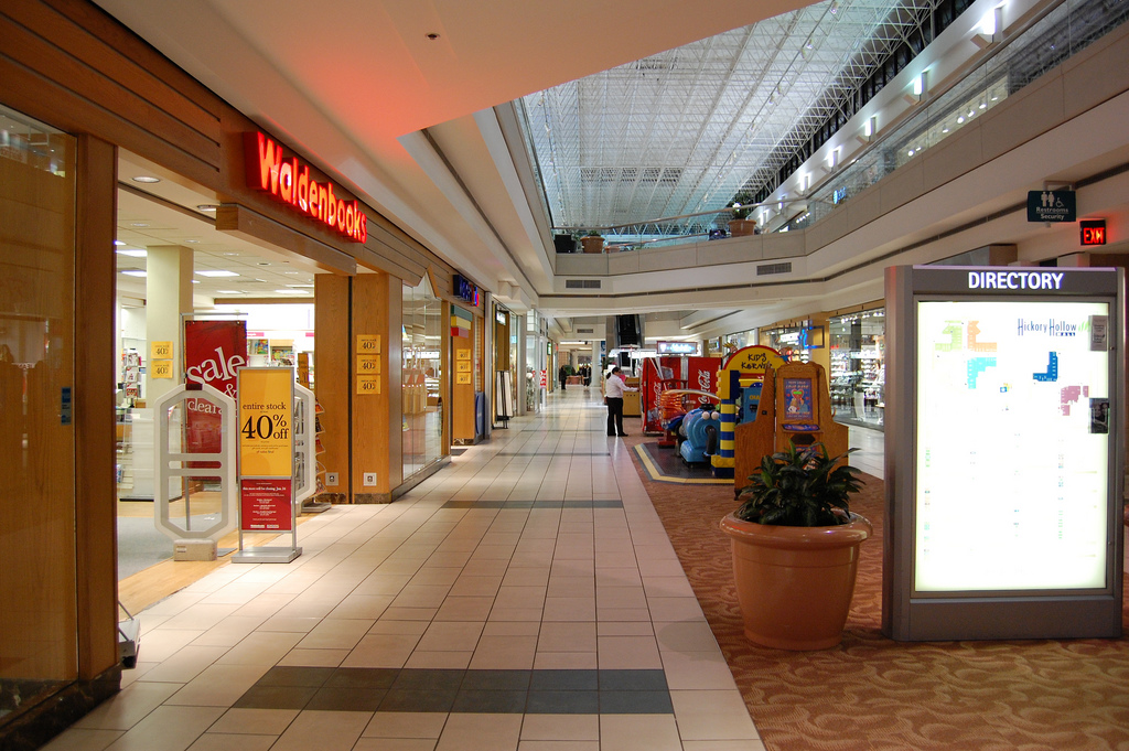 An open Hickory Hollow Mall sits largely devoid of consumers in 2009.