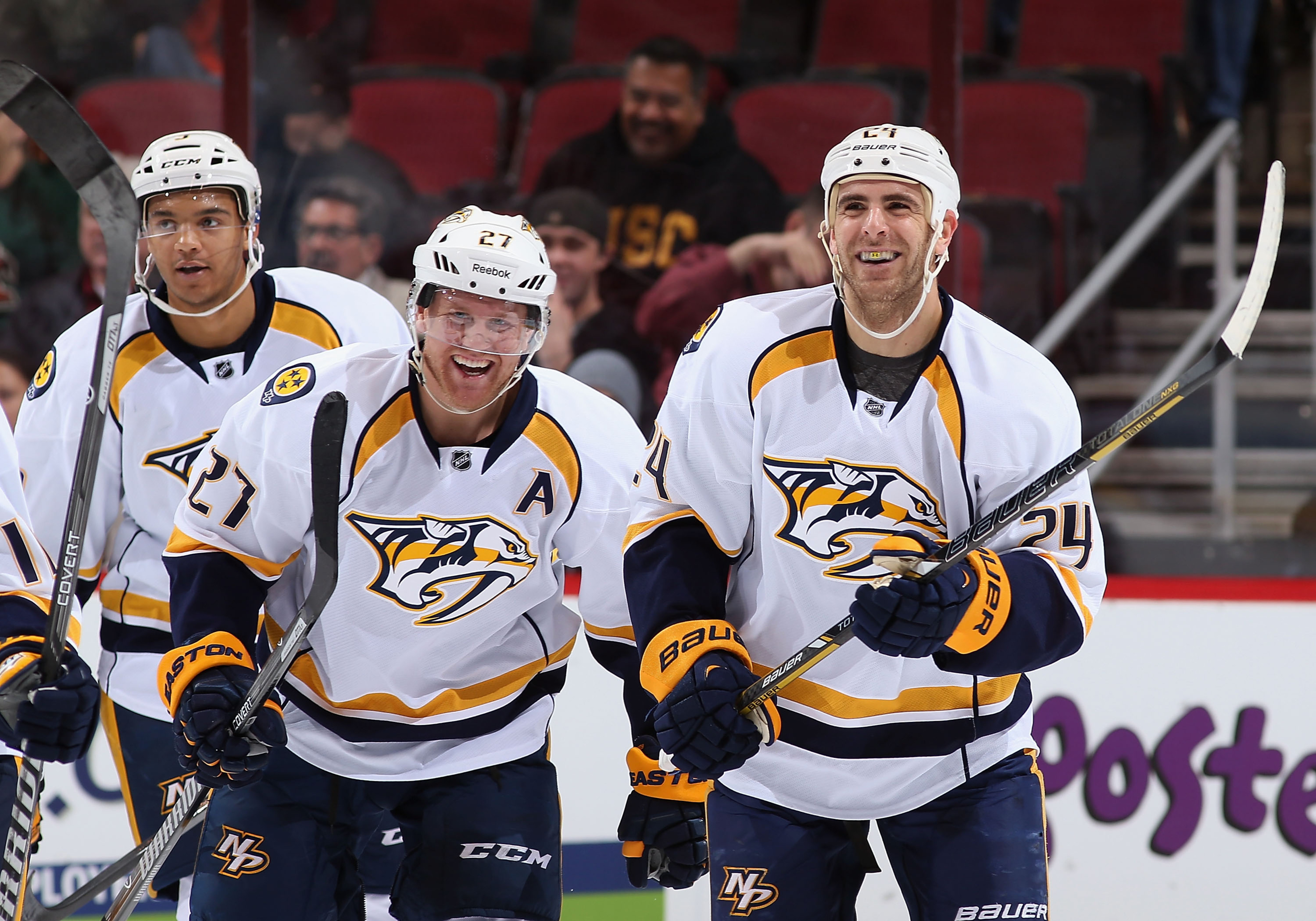 Patric Hornqvist #27 and Eric Nystrom #24 of the Nashville Predators celebrate after Nystrom scored a goal against the Phoenix Coyotes on October 31, 2013 at Jobing.com Arena in Glendale, Arizona.
